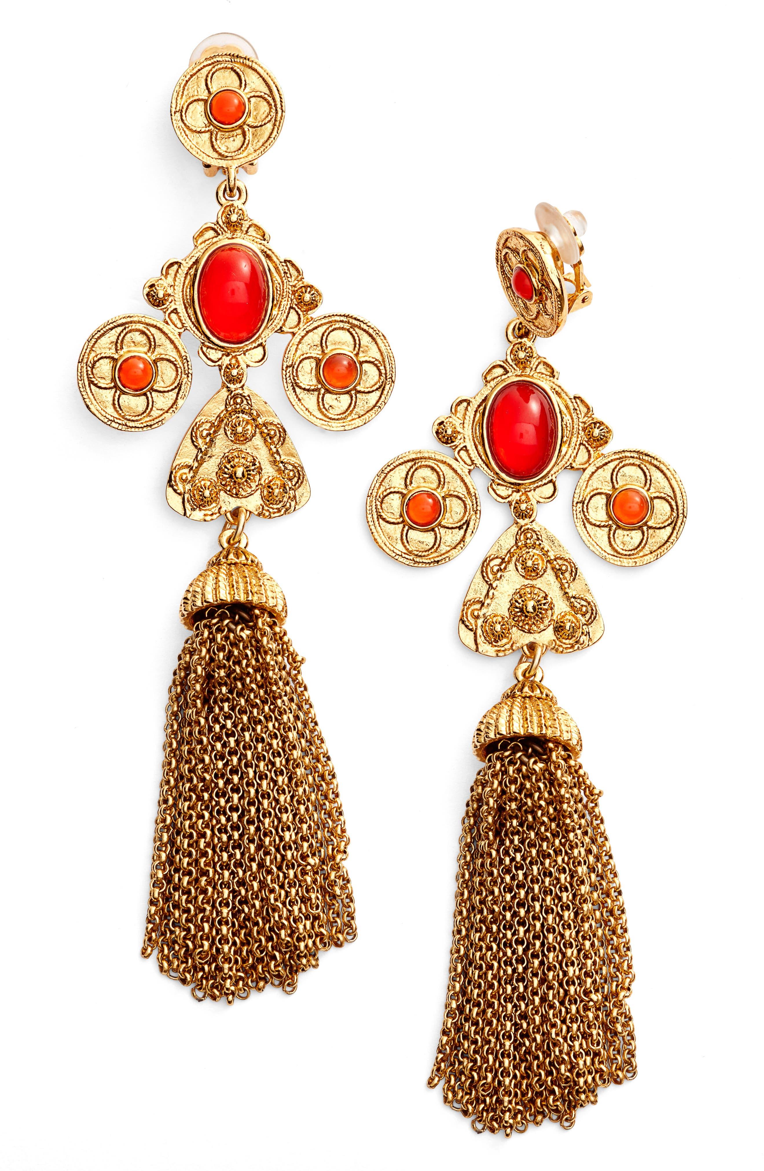 Alternate Image 1 Selected - Oscar de la Renta Charm Tassel Clip Earrings