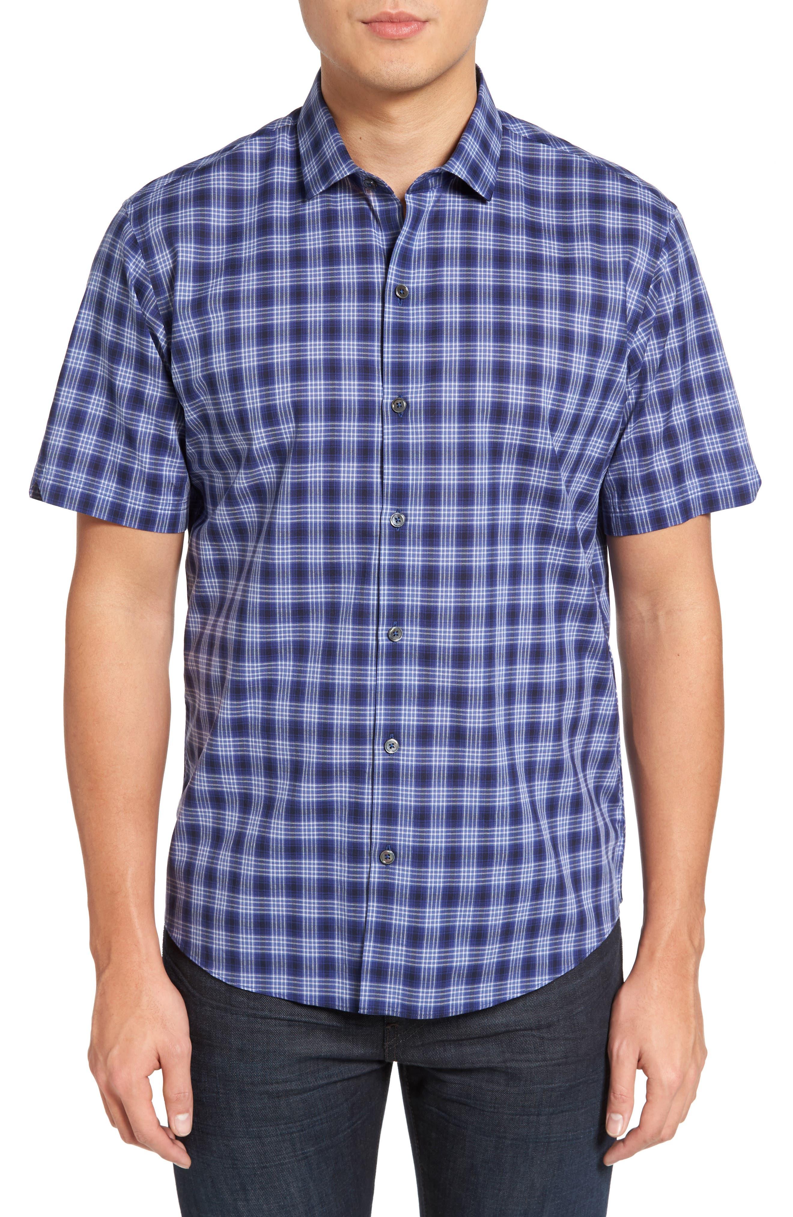 Medina Slim Fit Plaid Sport Shirt,                             Main thumbnail 1, color,                             Pacific