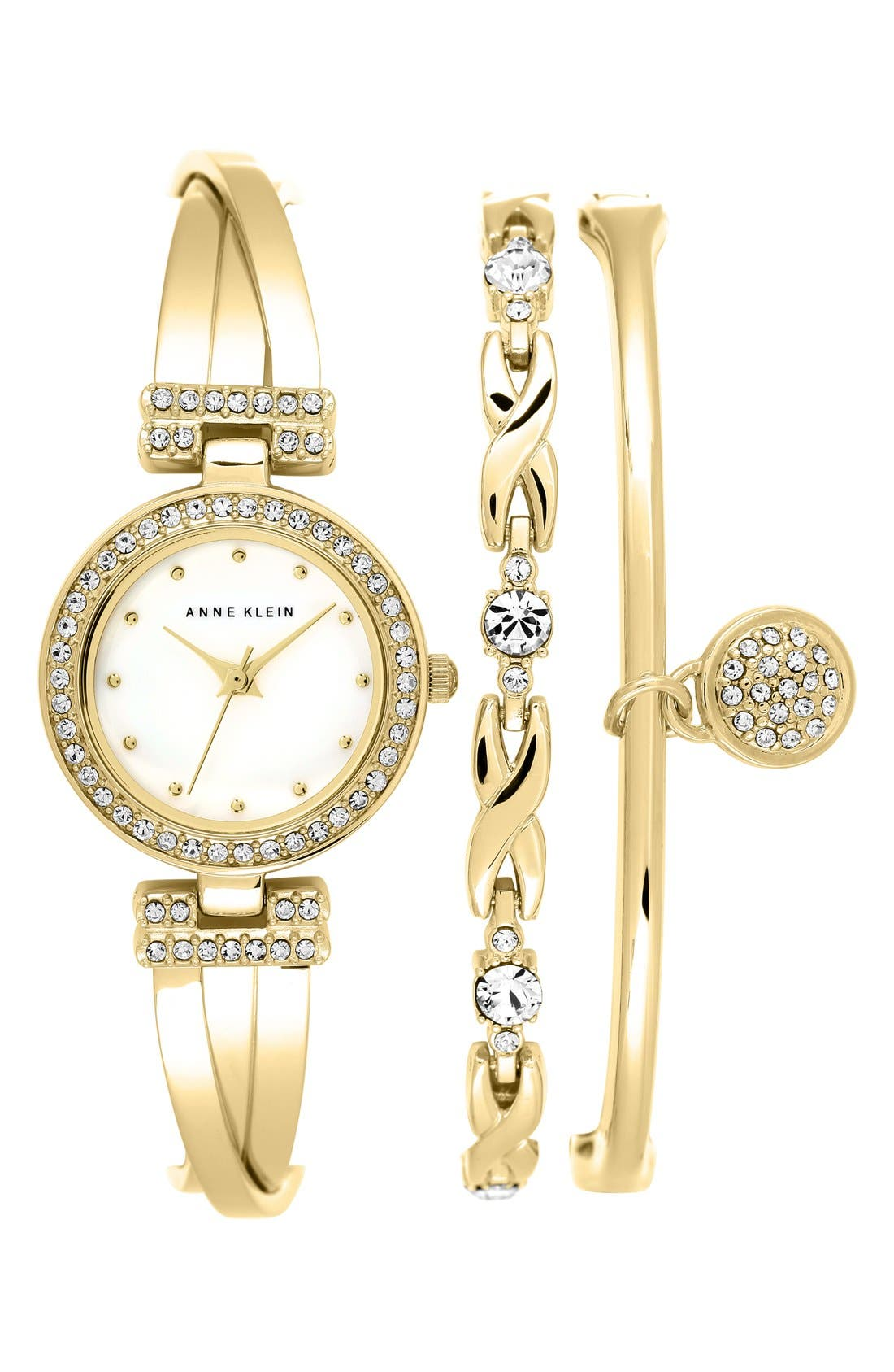 ANNE KLEIN Watch & Bangles Set, 24Mm in Gold