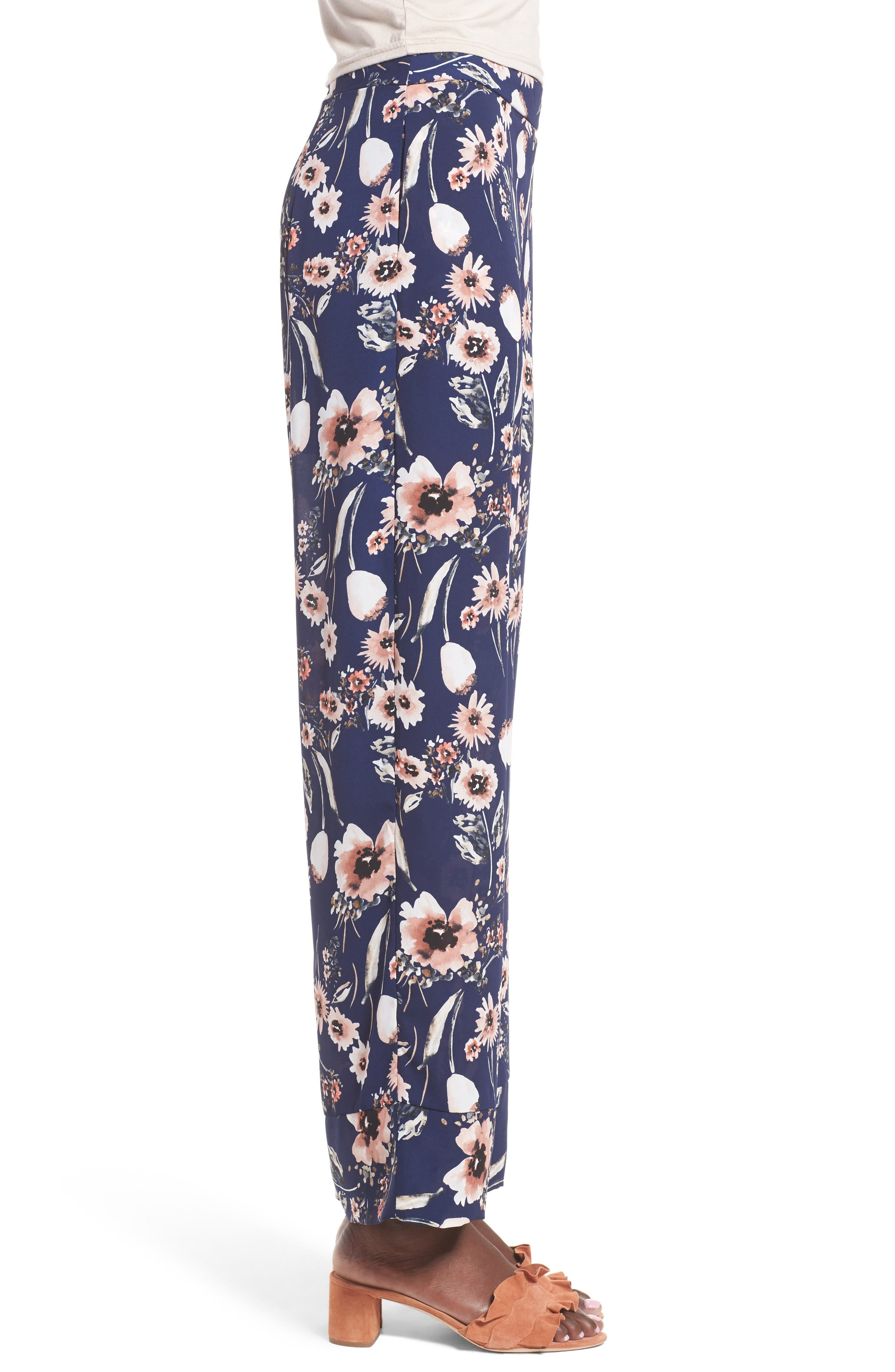 Wide Leg Pants,                             Alternate thumbnail 3, color,                             Navy Medieval Multi Floral