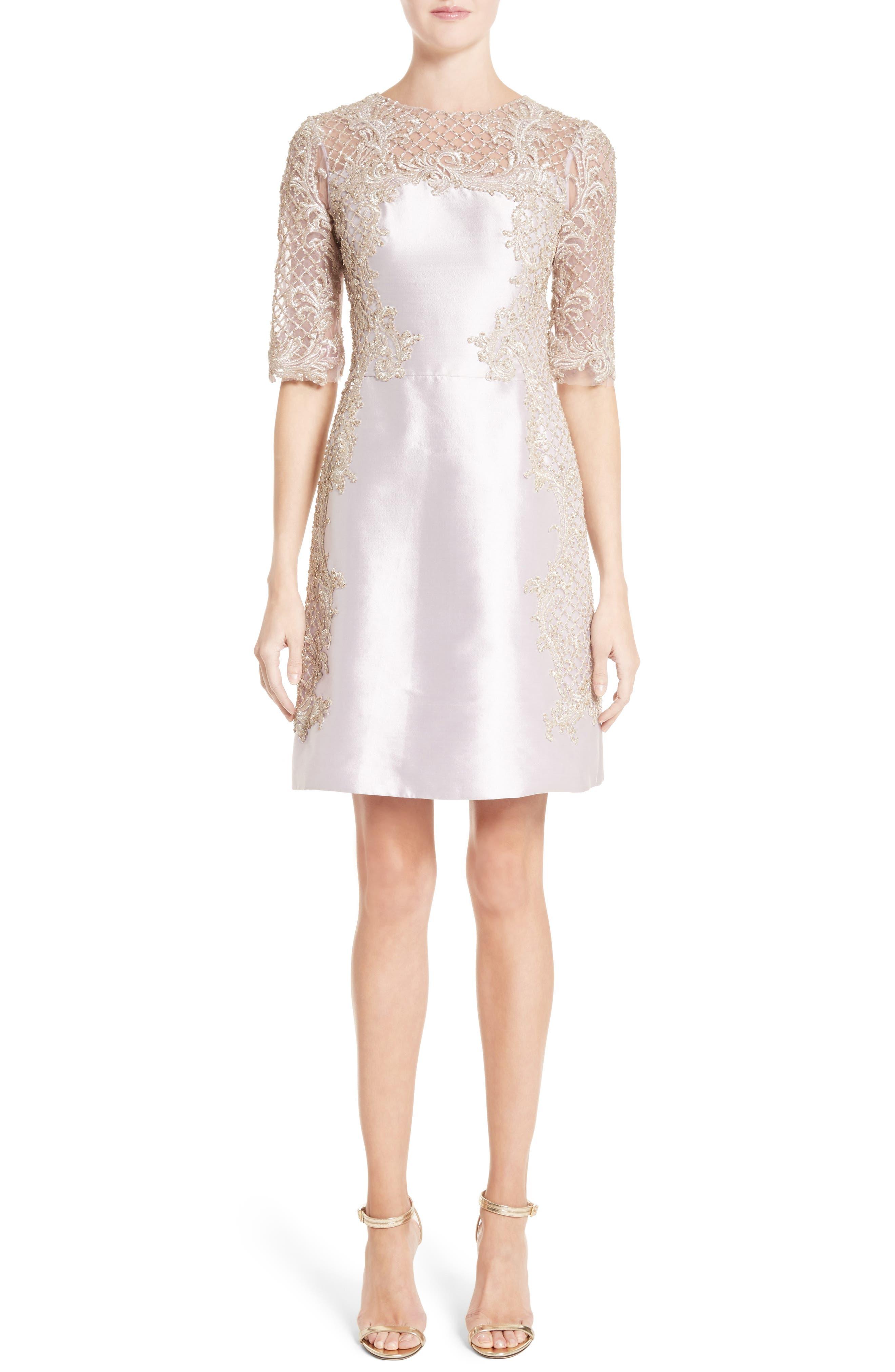 Marchesa Embellished Tulle & Wool Dress
