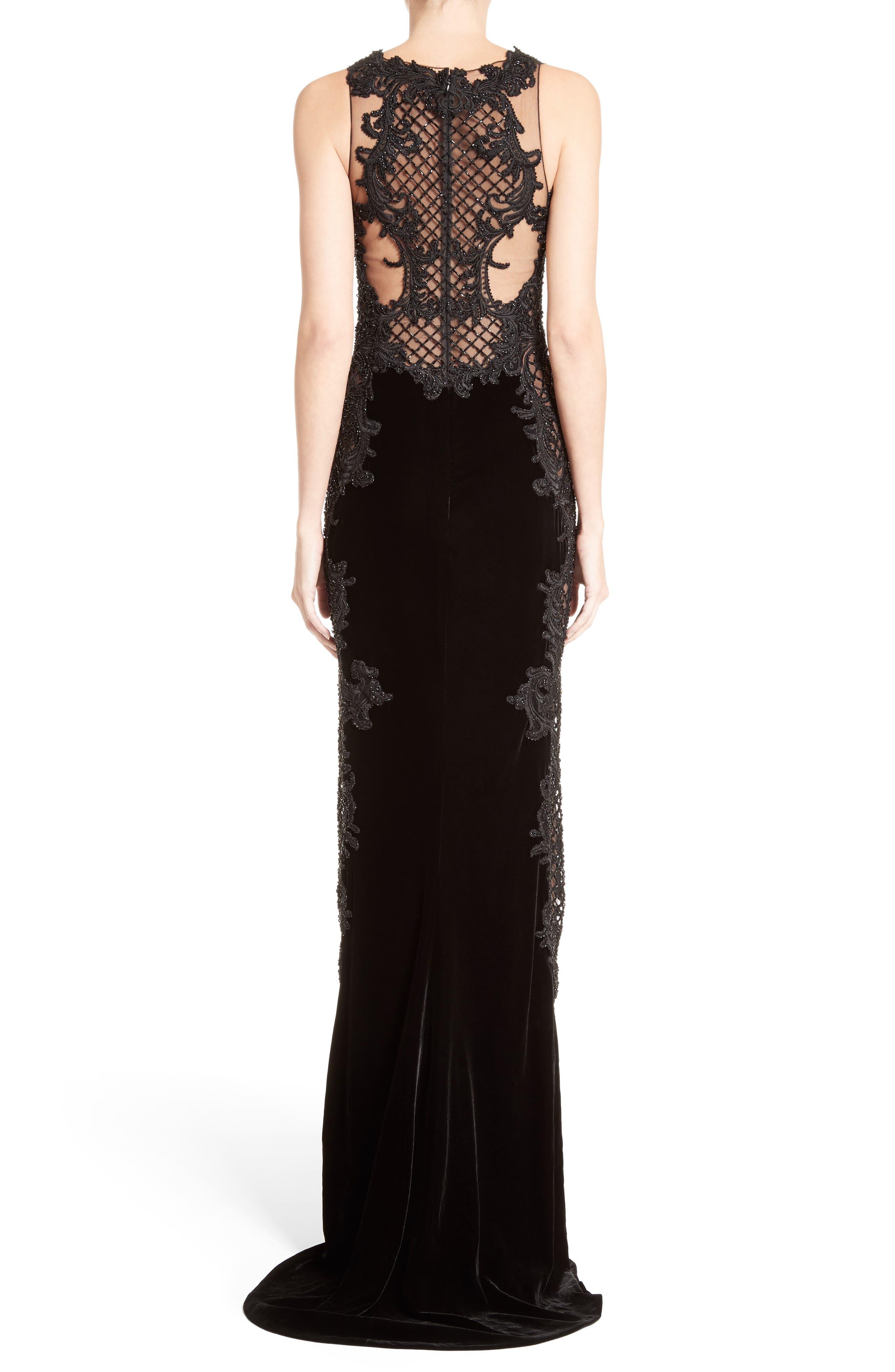 Embellished Tulle & Velvet Column Gown,                             Alternate thumbnail 2, color,                             Black
