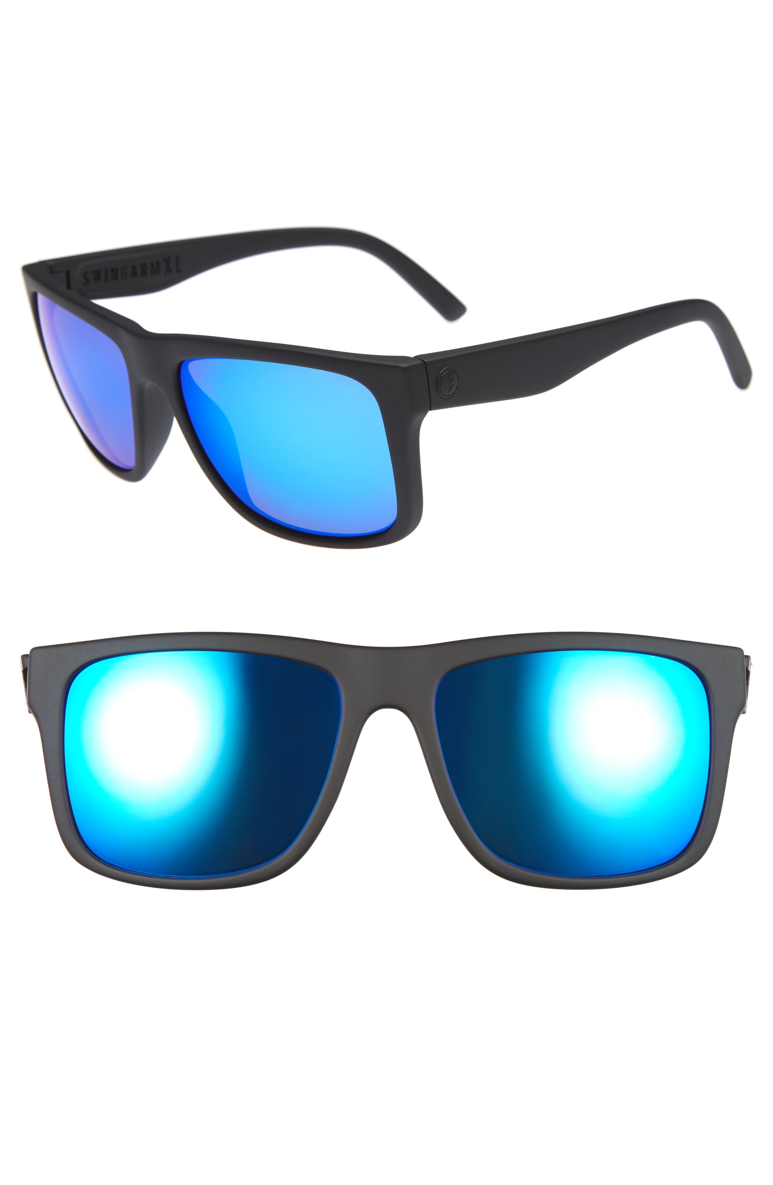 Swingarm XL 59mm Sunglasses,                             Main thumbnail 1, color,                             Matte Black/ Blue Chrome