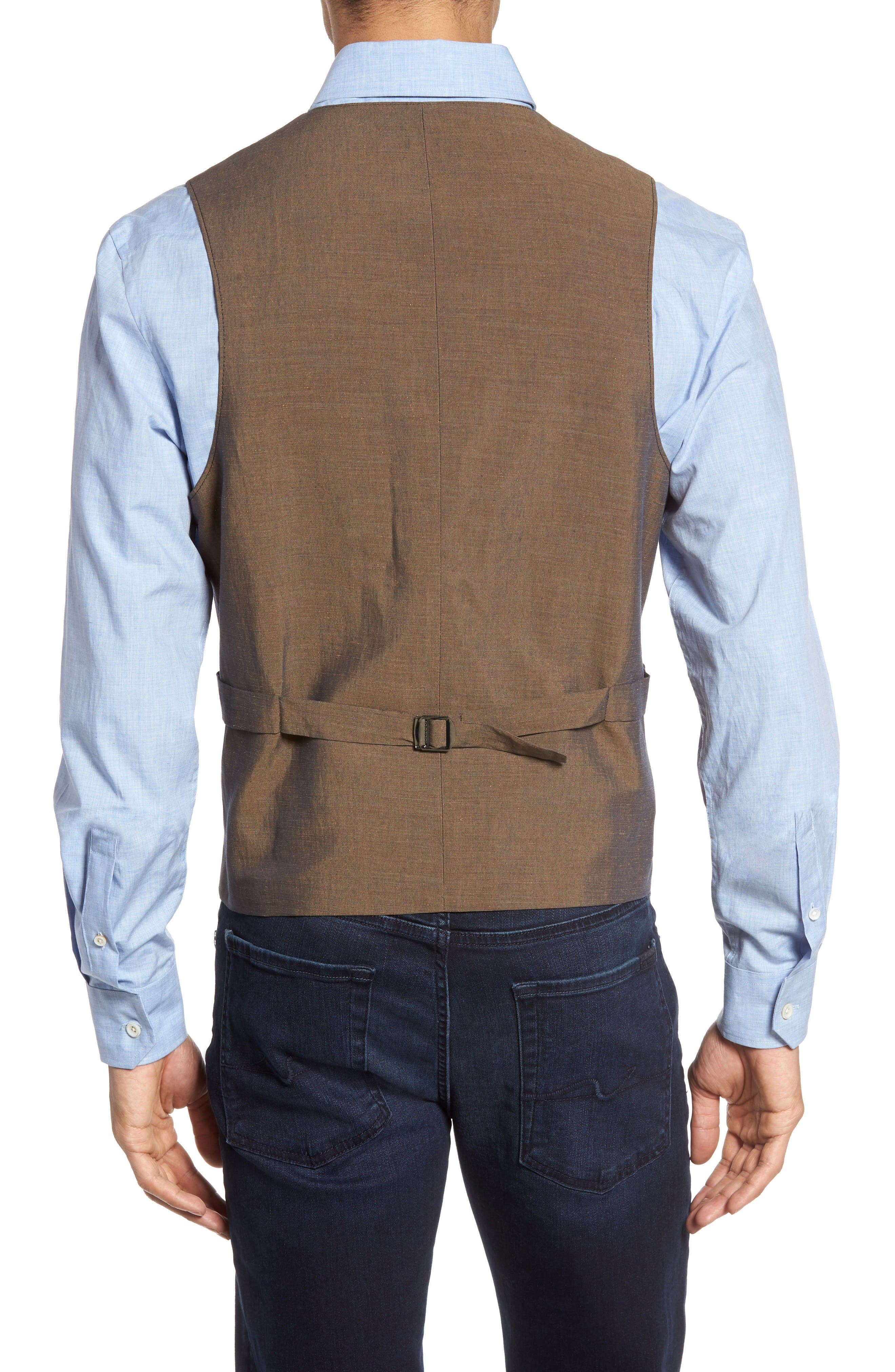 Hootie Classic Fit Linen & Cotton Vest,                             Alternate thumbnail 2, color,                             Blue