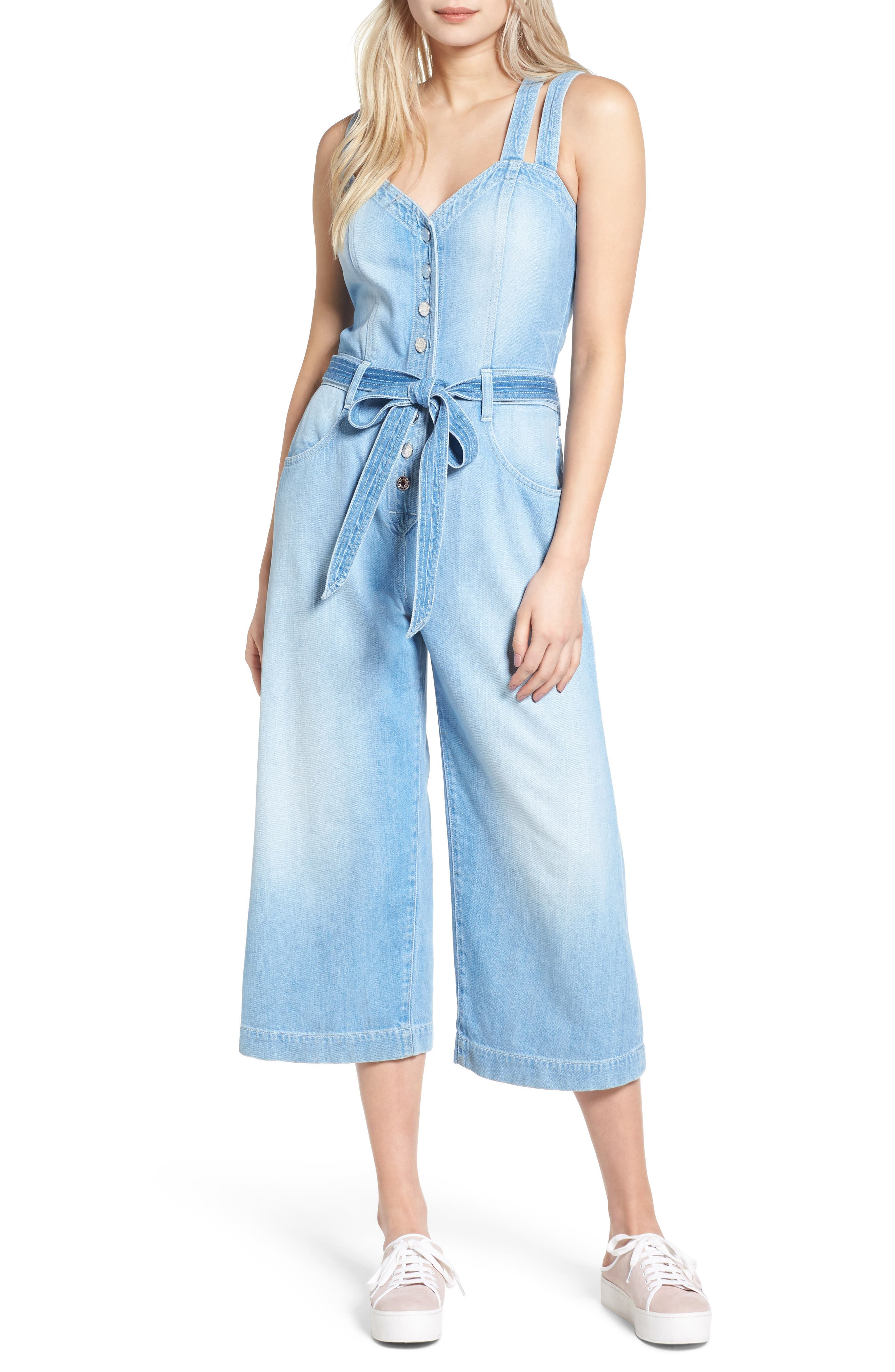 Alternate Image 1 Selected - 7 For All Mankind® Denim Culotte Jumpsuit (Luxe Lounge Coastal Blue)