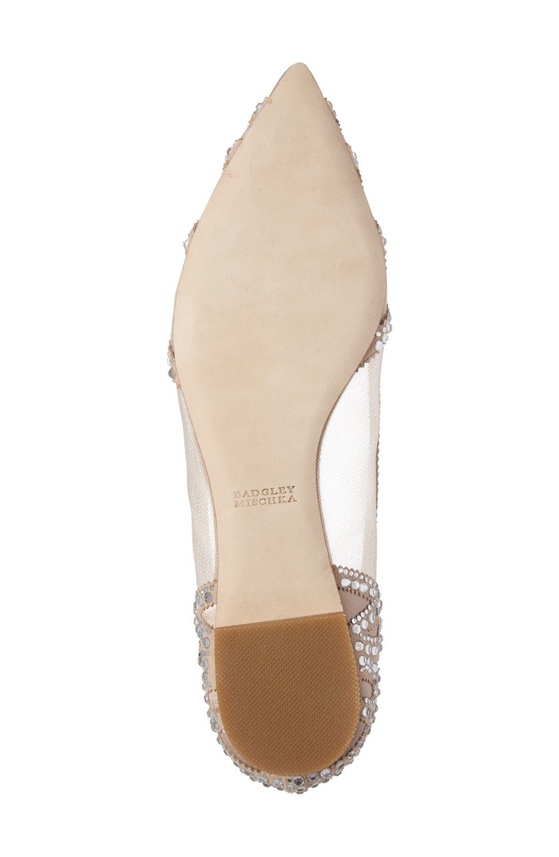 Gigi Crystal Pointy Toe Flat,                             Alternate thumbnail 4, color,                             Latte Suede