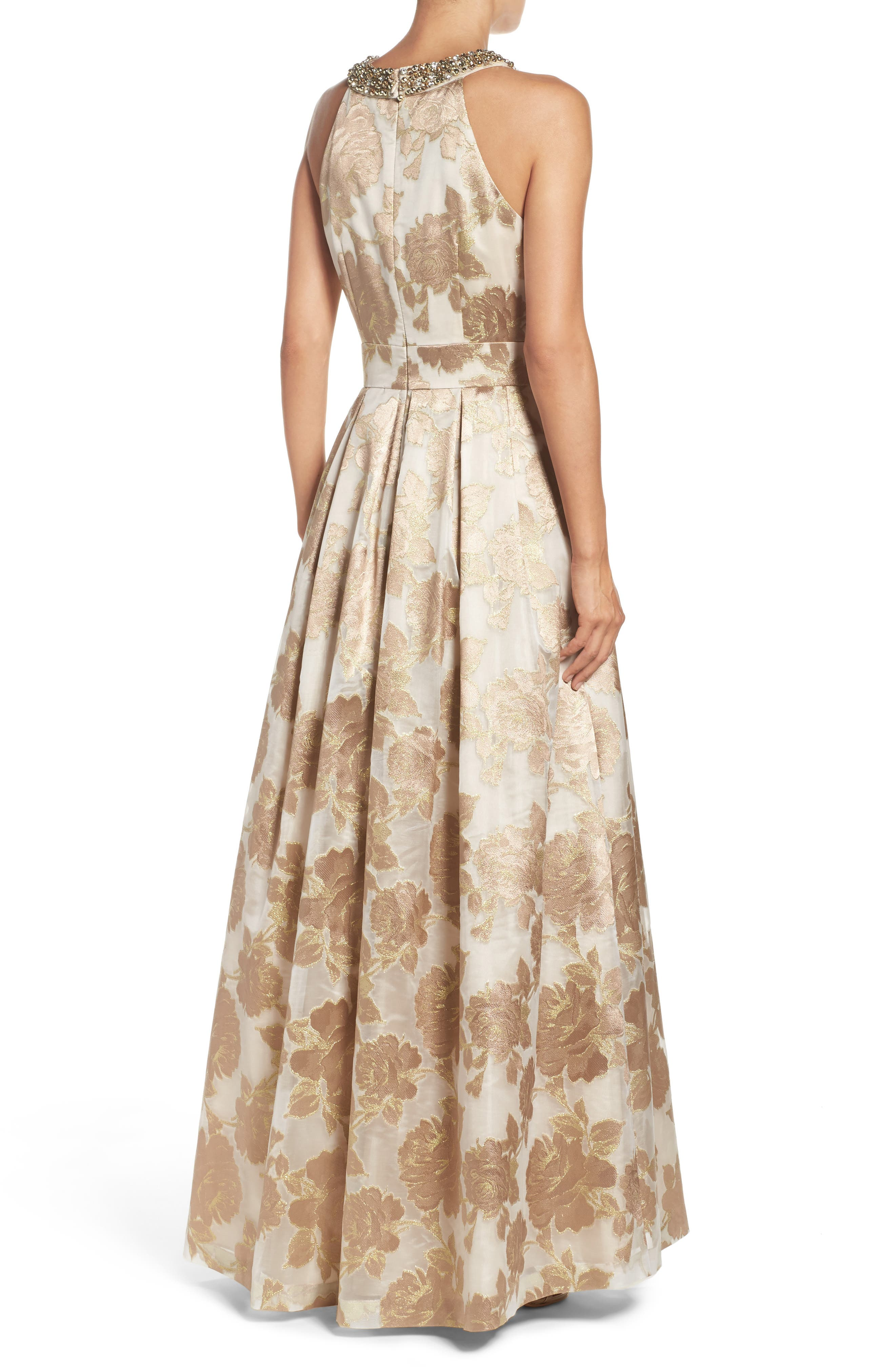 Embellished Floral Jacquard Fit & Flare Gown,                             Alternate thumbnail 2, color,                             Champagne