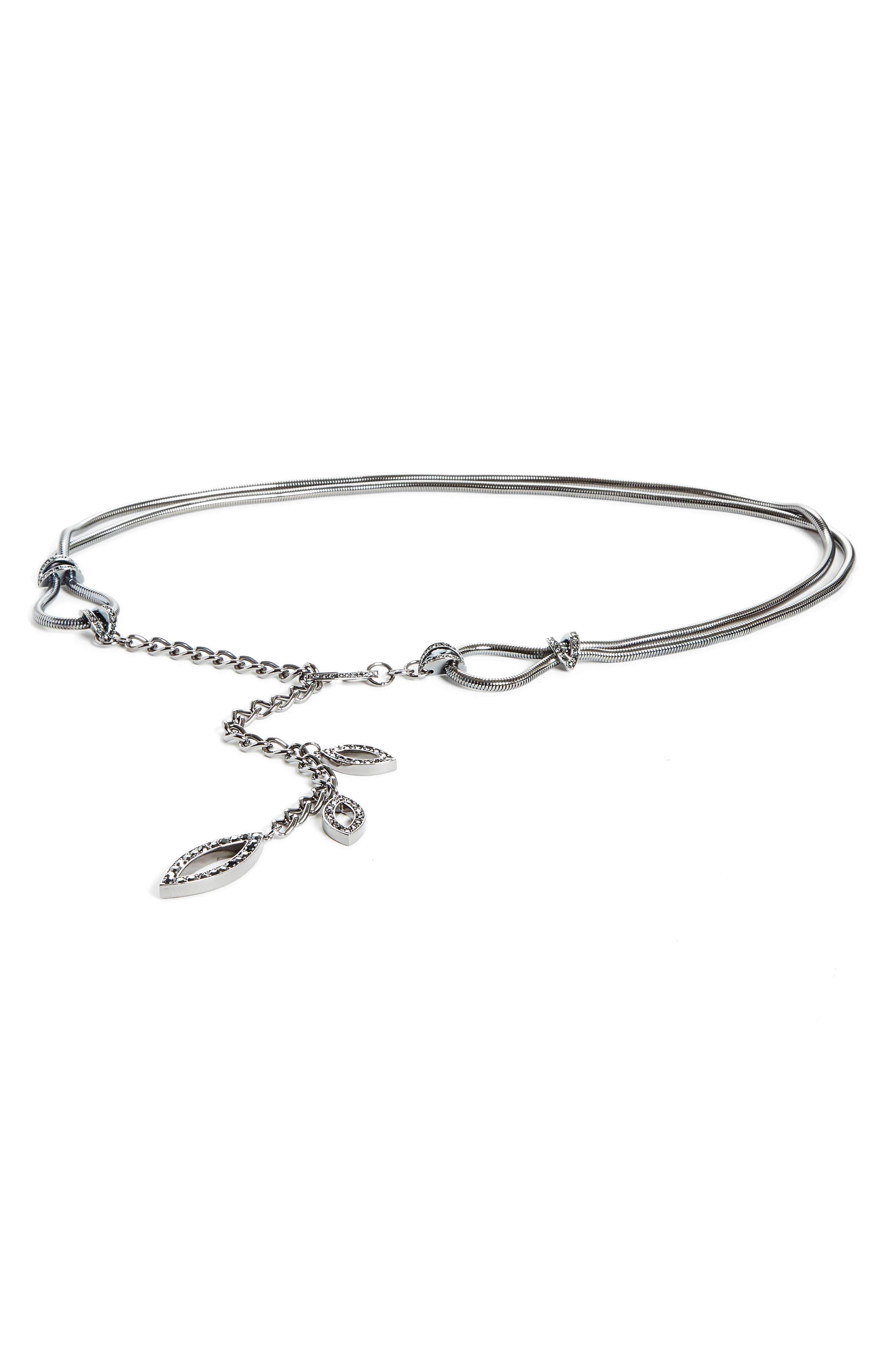 Swarovski Crystal Leaf Chain Belt,                         Main,                         color, Dark Ruth/Css/Jet Hematite