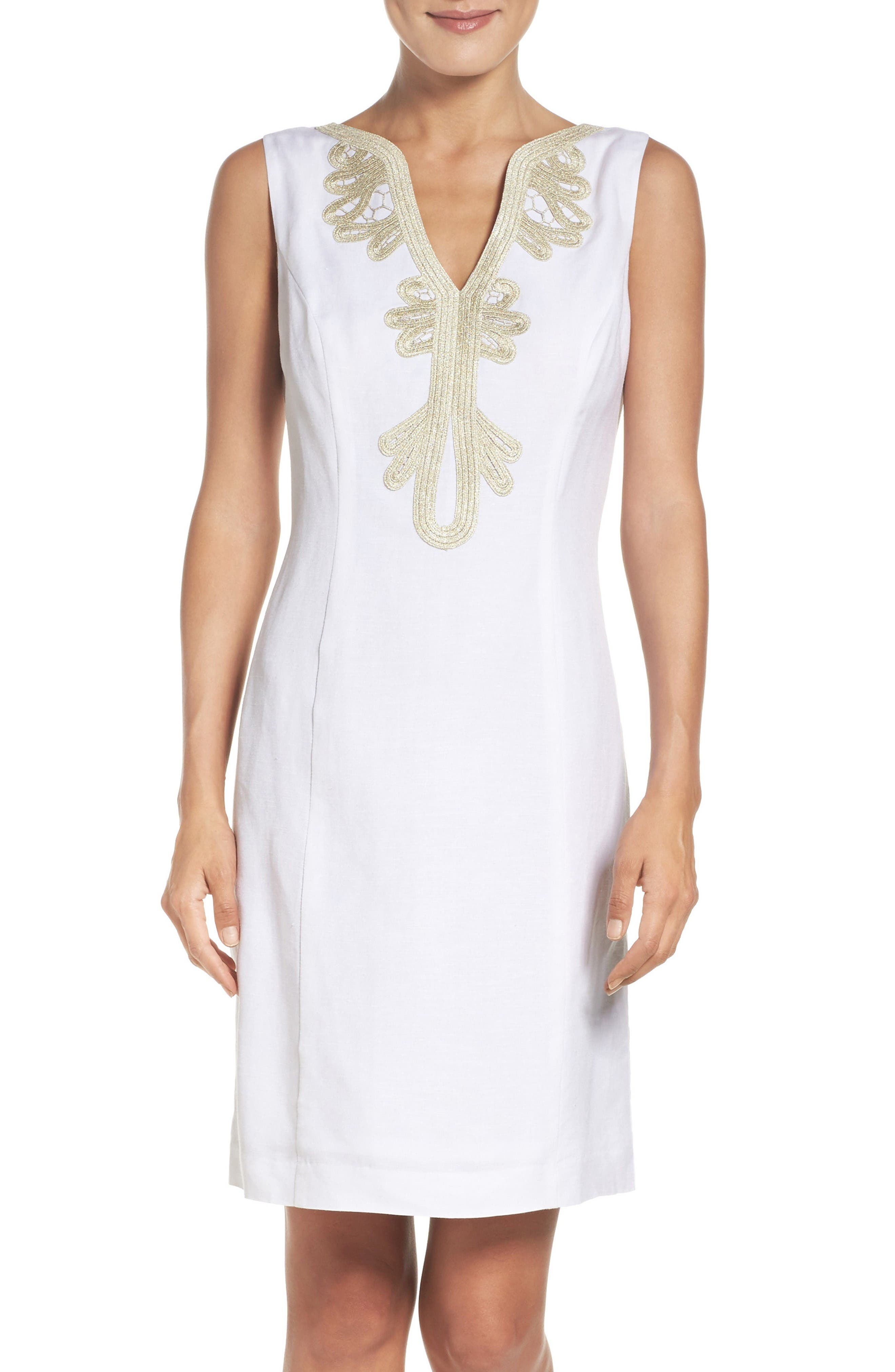 Embroidered Neck Sheath Dress,                         Main,                         color, New White