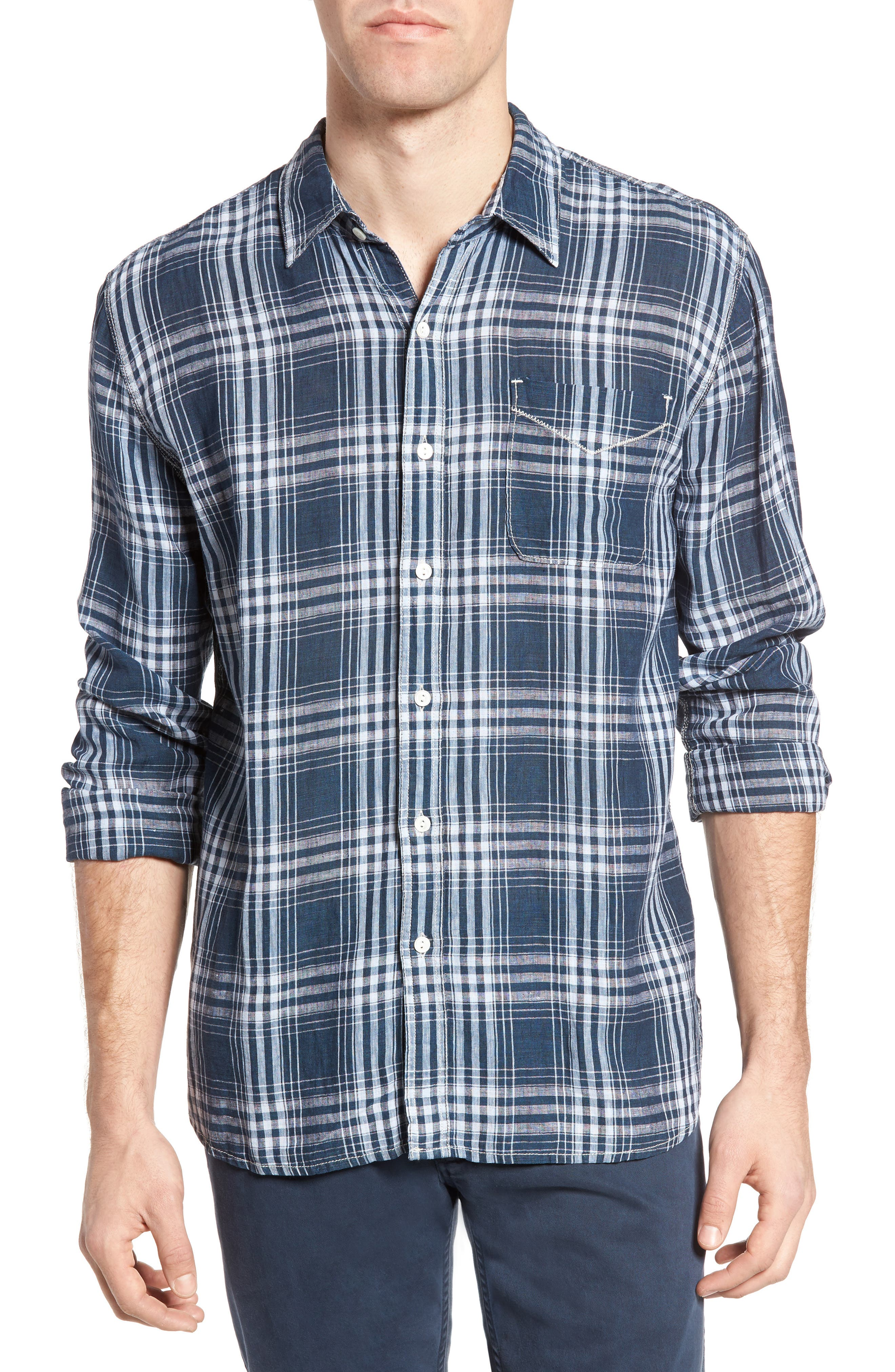 TRUE GRIT Indigo Plaid Sport Shirt