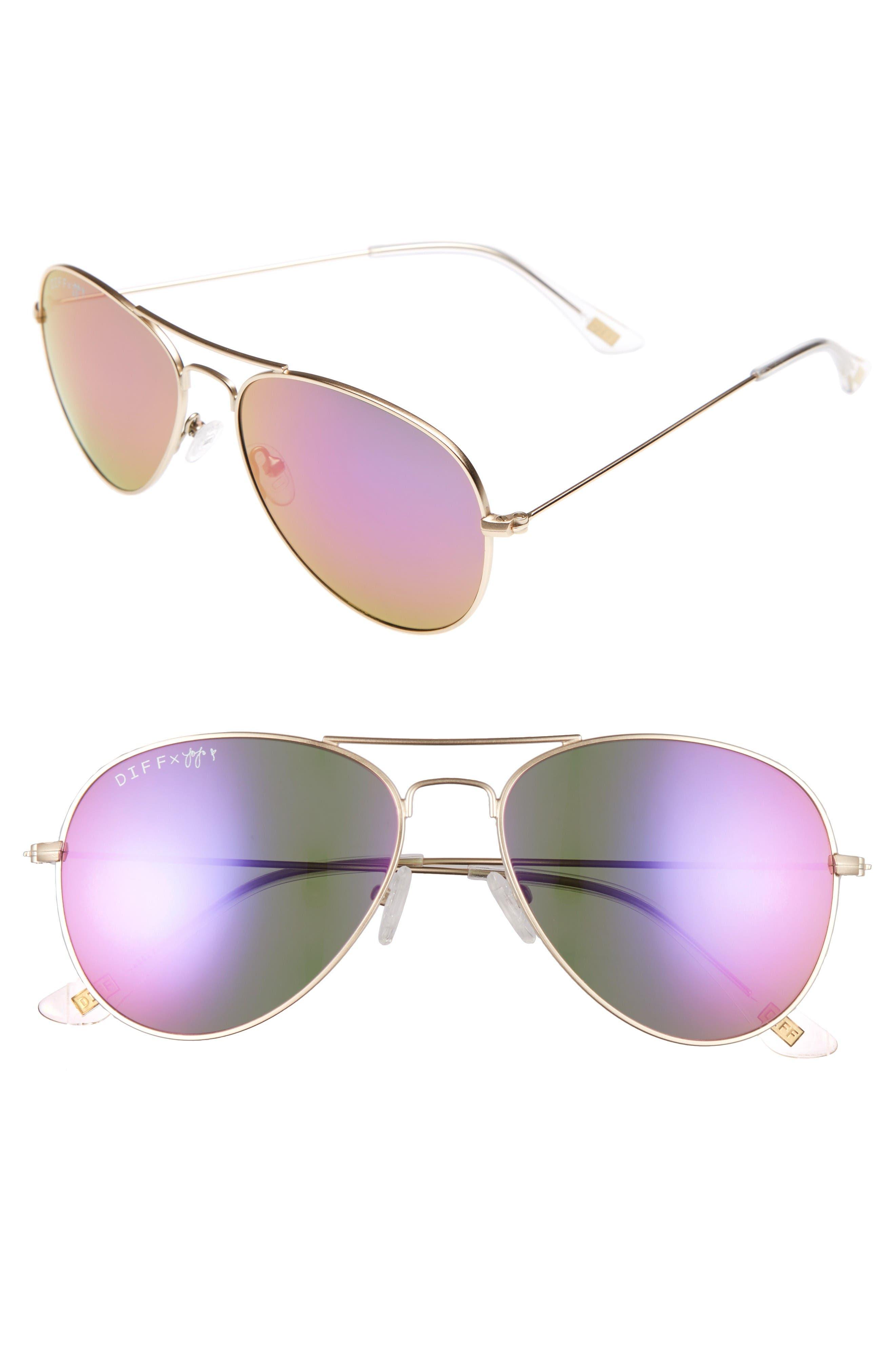 Main Image - DIFF x JoJo Cruz Edition 57mm Aviator Sunglasses