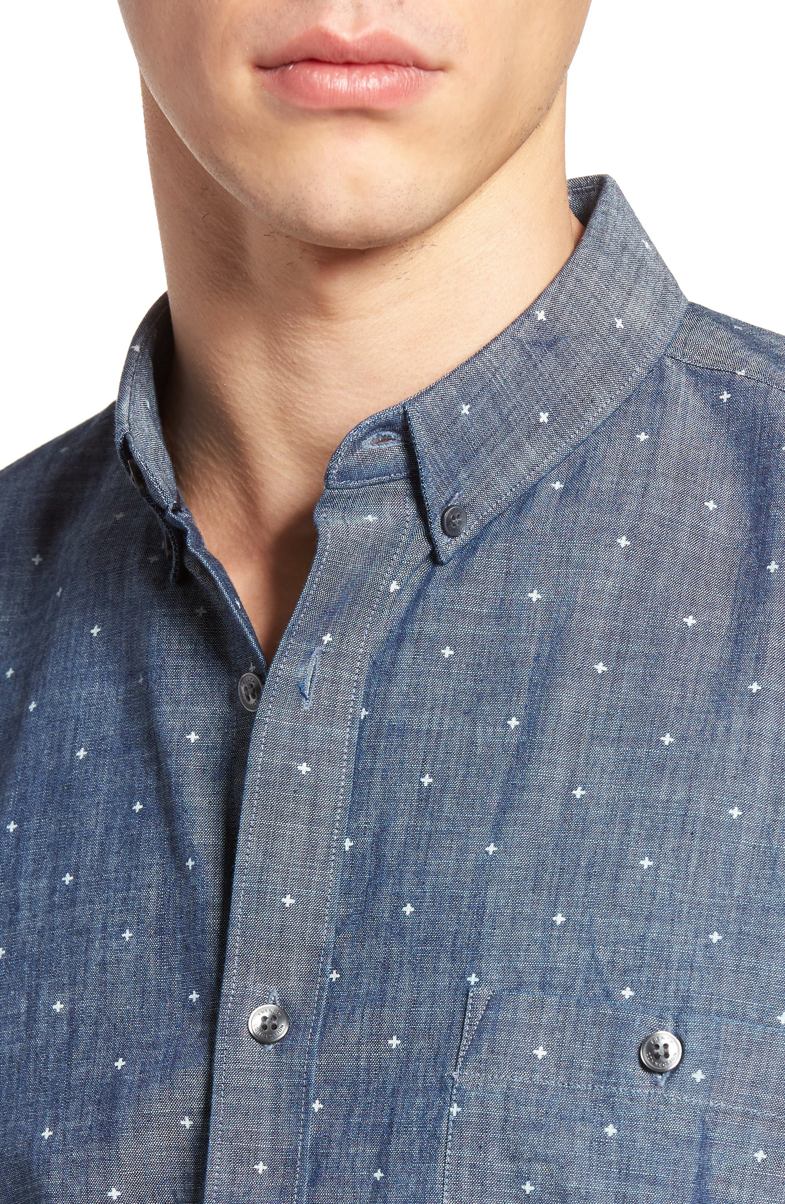 Alternate Image 4  - French Connection Print Slub Chambray Shirt
