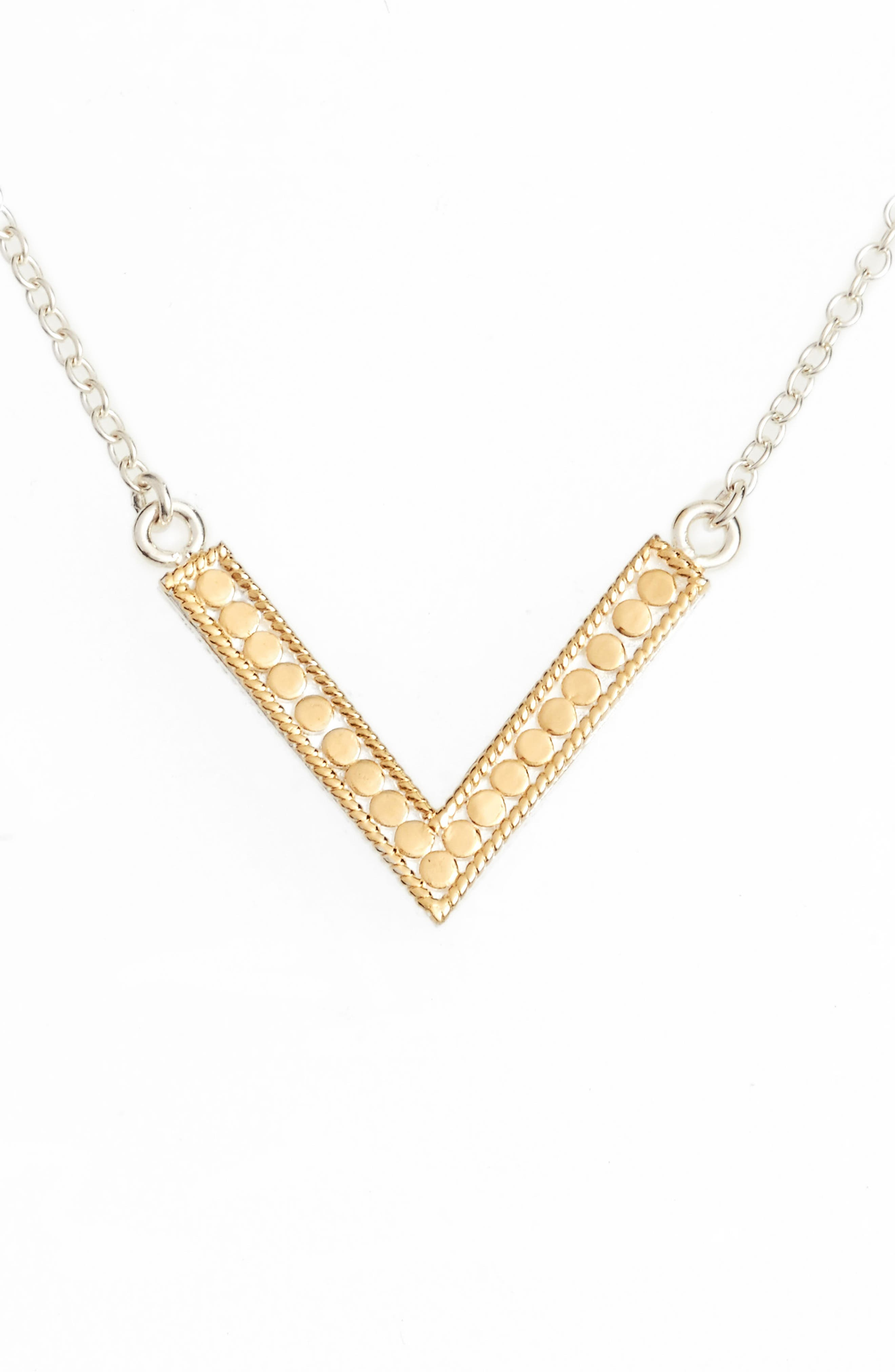 Reversible V Necklace,                         Main,                         color, Gold/ Silver