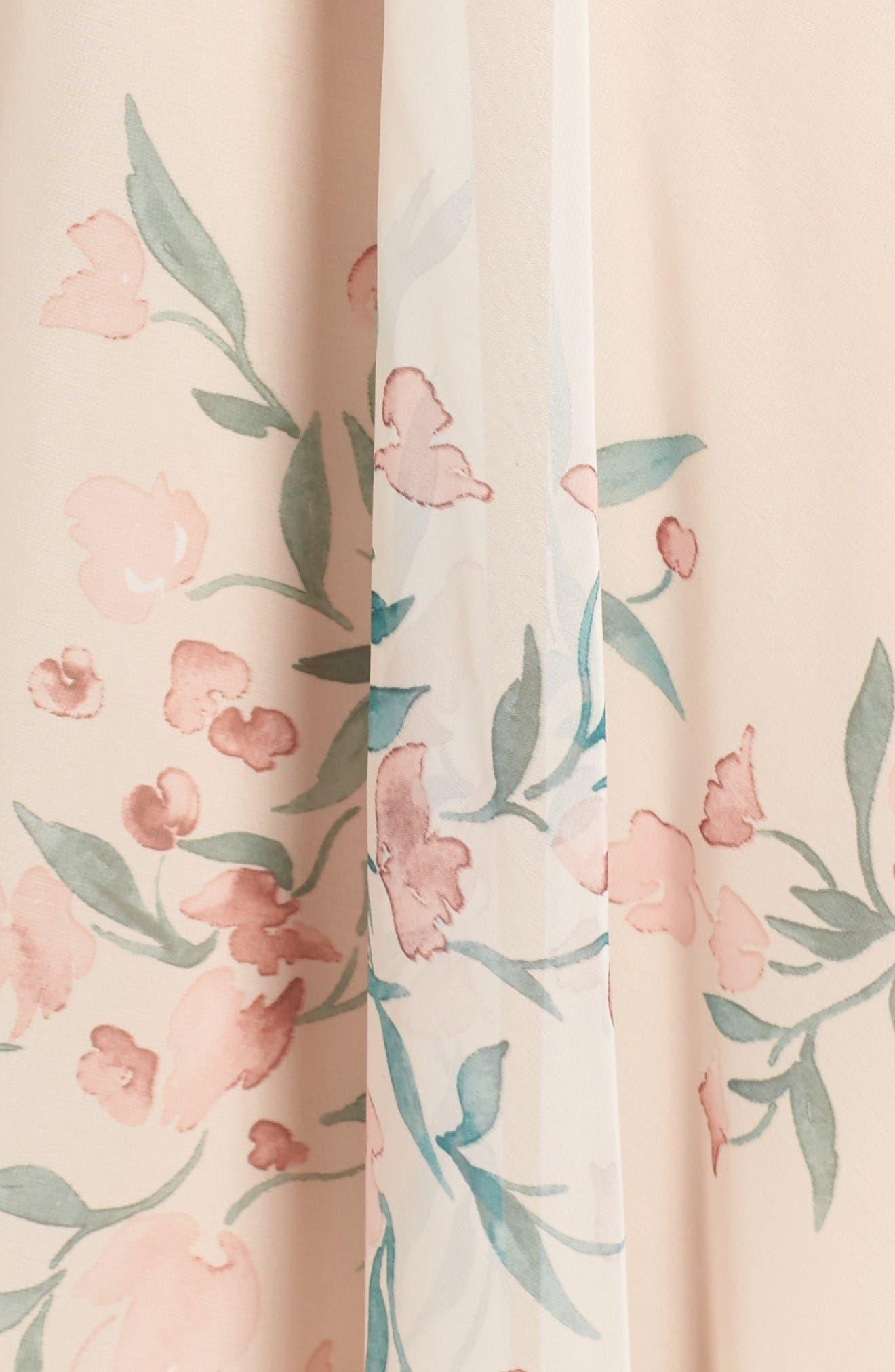 Cassie Flutter Sleeve Surplice Gown,                             Alternate thumbnail 5, color,                             Blush Chai