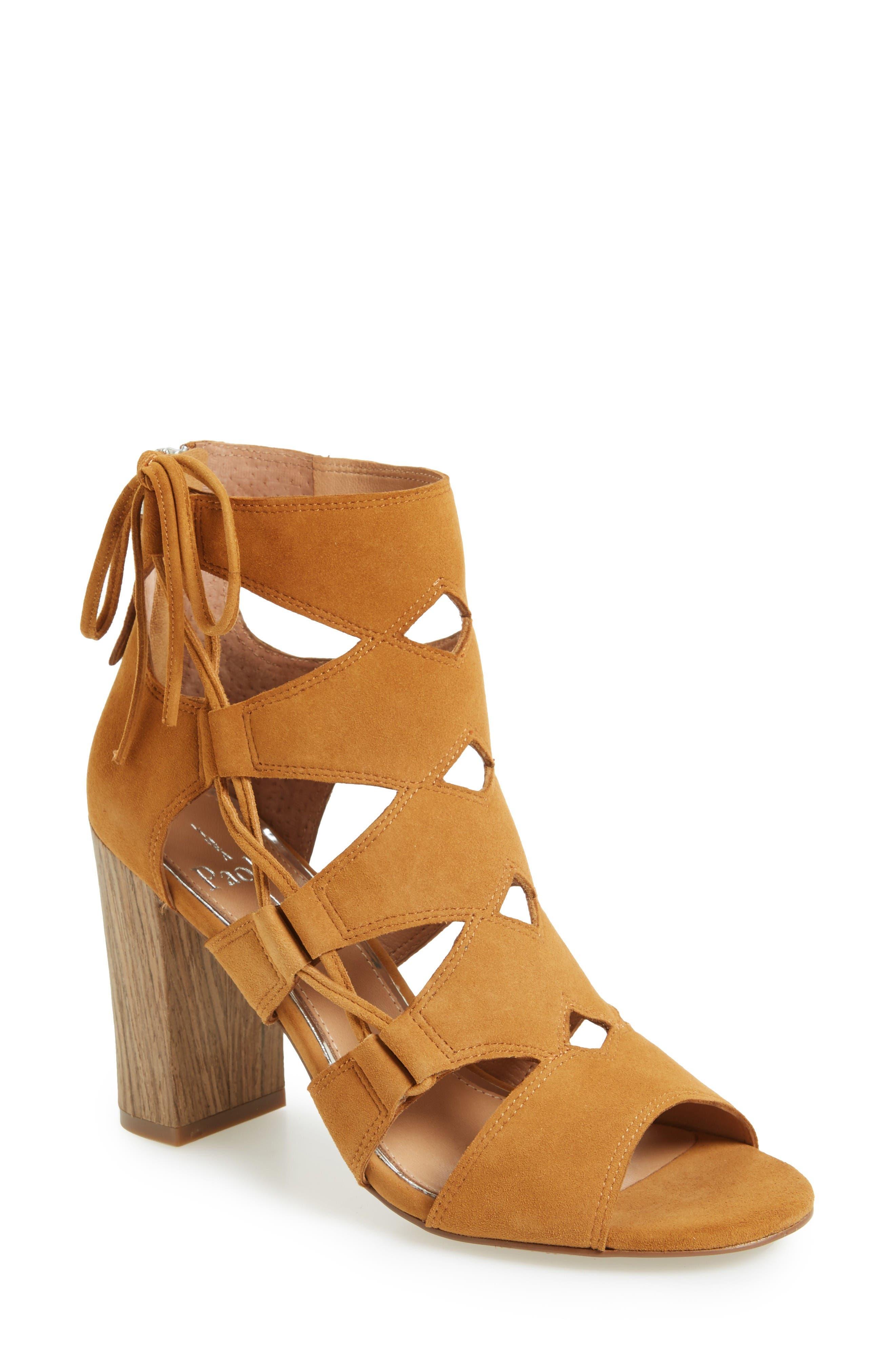 Hawley Cutout Sandal,                         Main,                         color, Cognac Suede