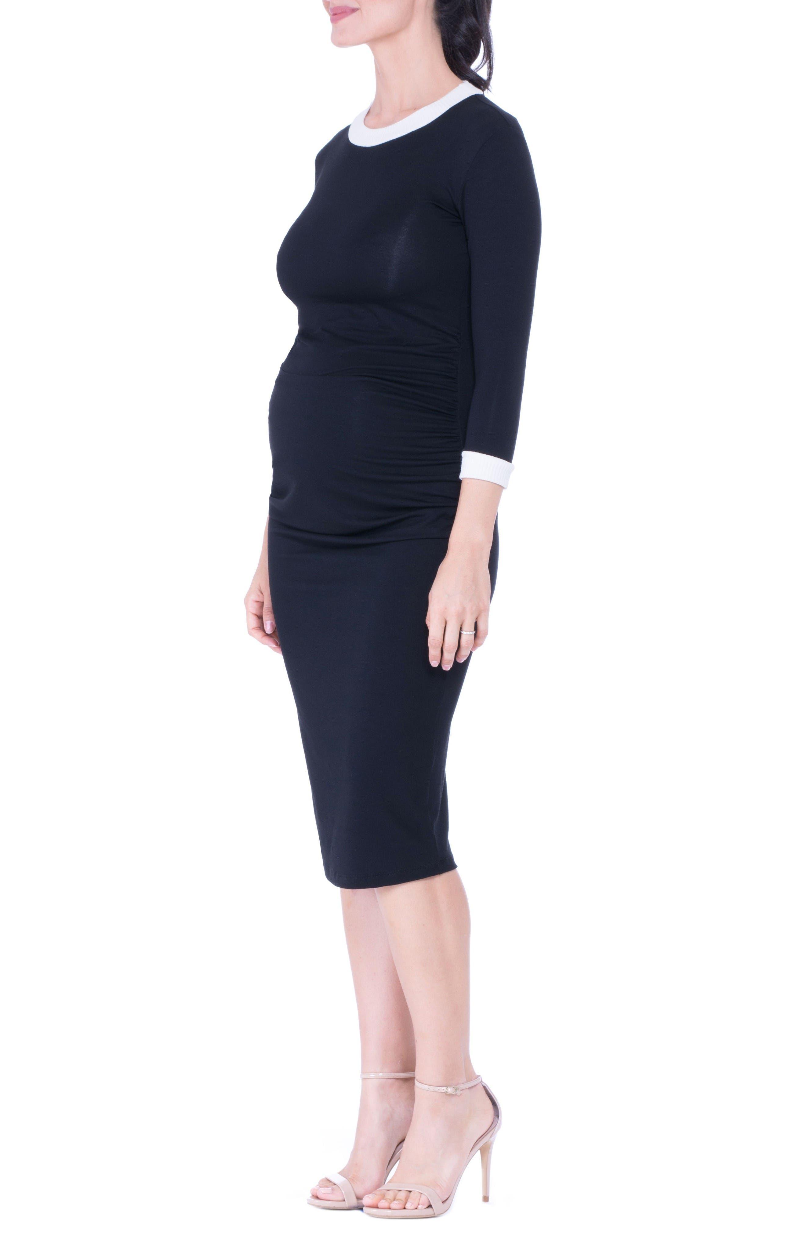 Maternity Midi Dress,                             Alternate thumbnail 3, color,                             Black