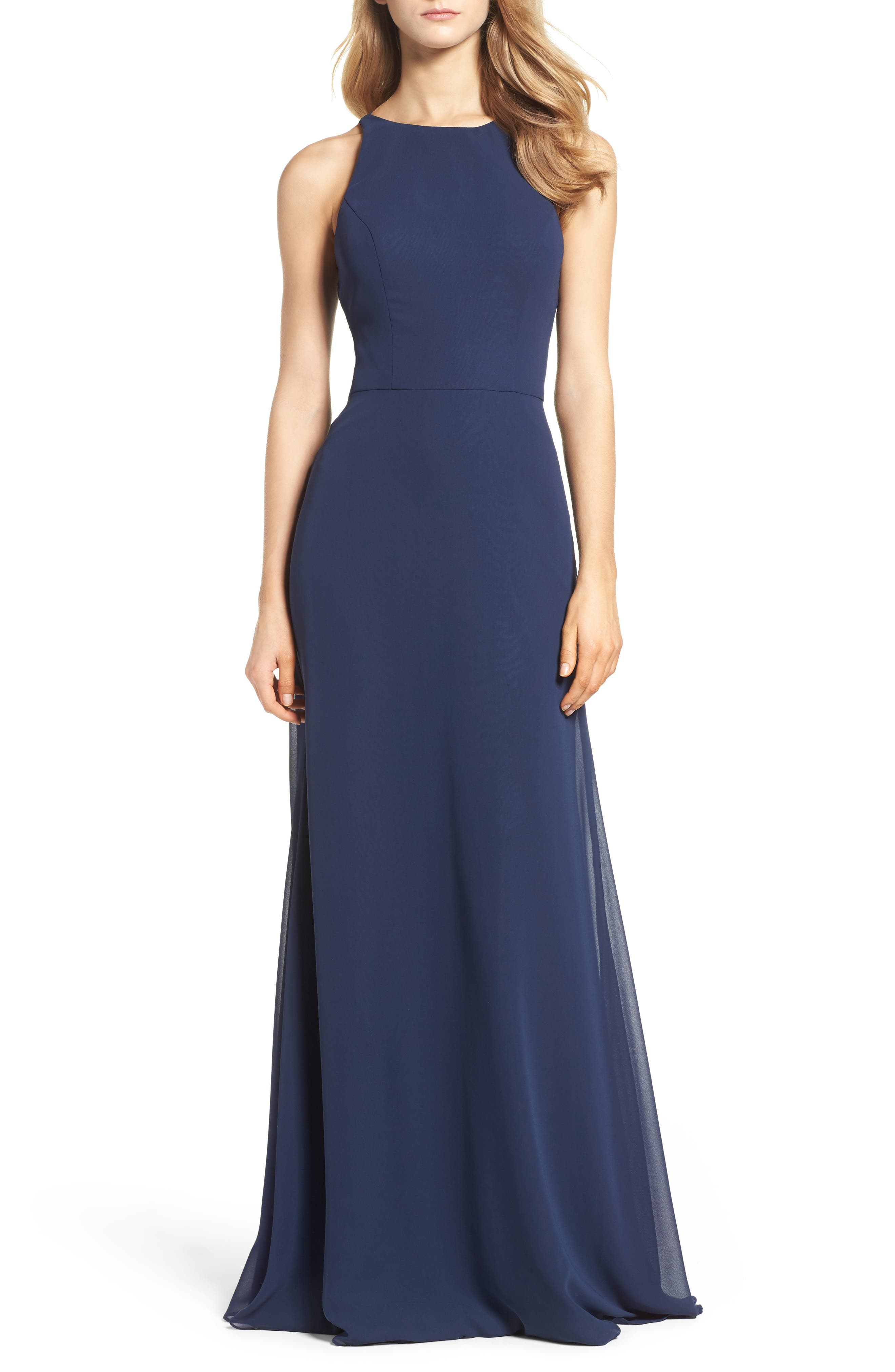 Hayley Paige Occasions Crewneck Chiffon Gown