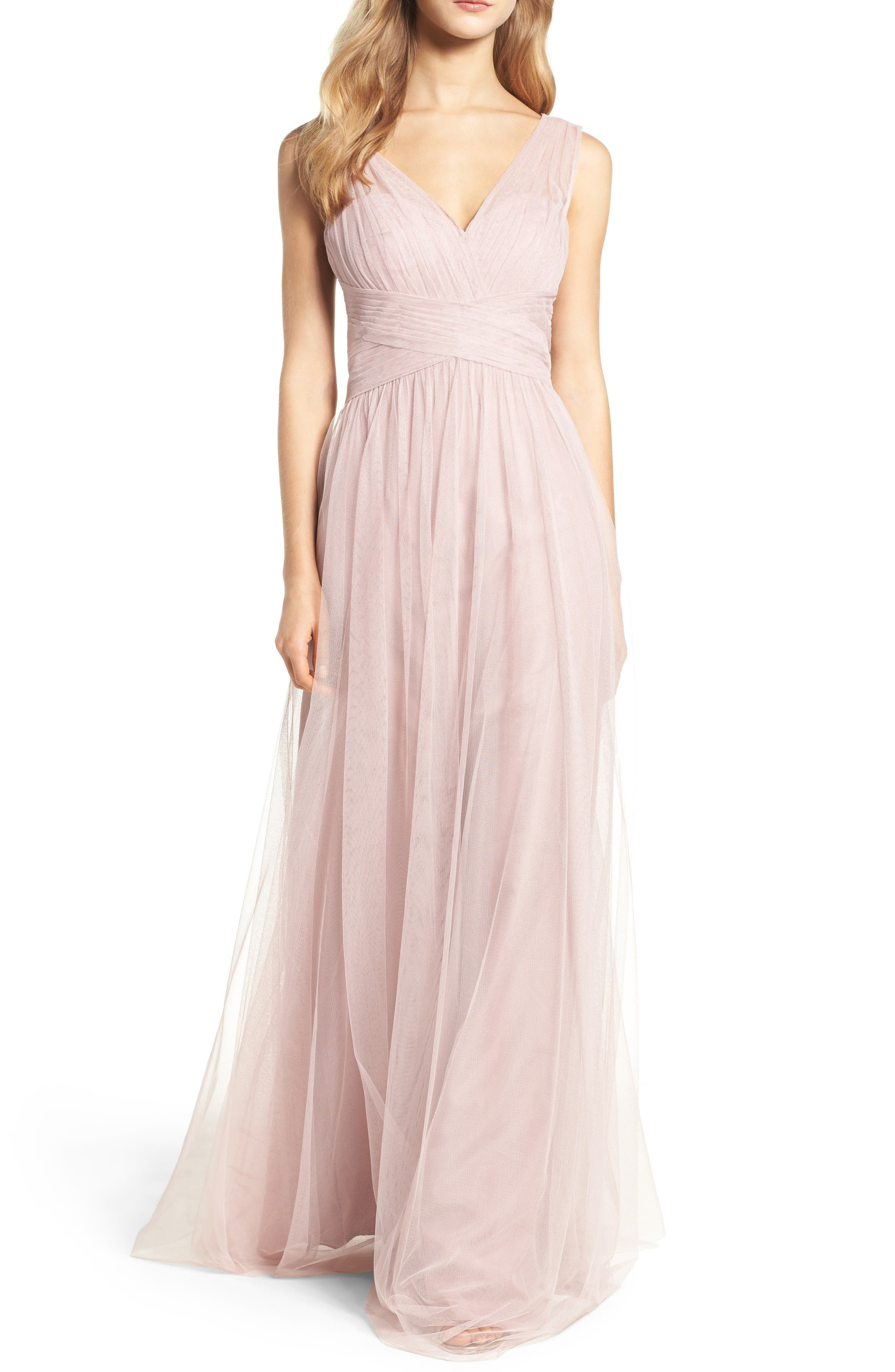 Illusion Gown,                             Main thumbnail 1, color,                             Dusty Rose