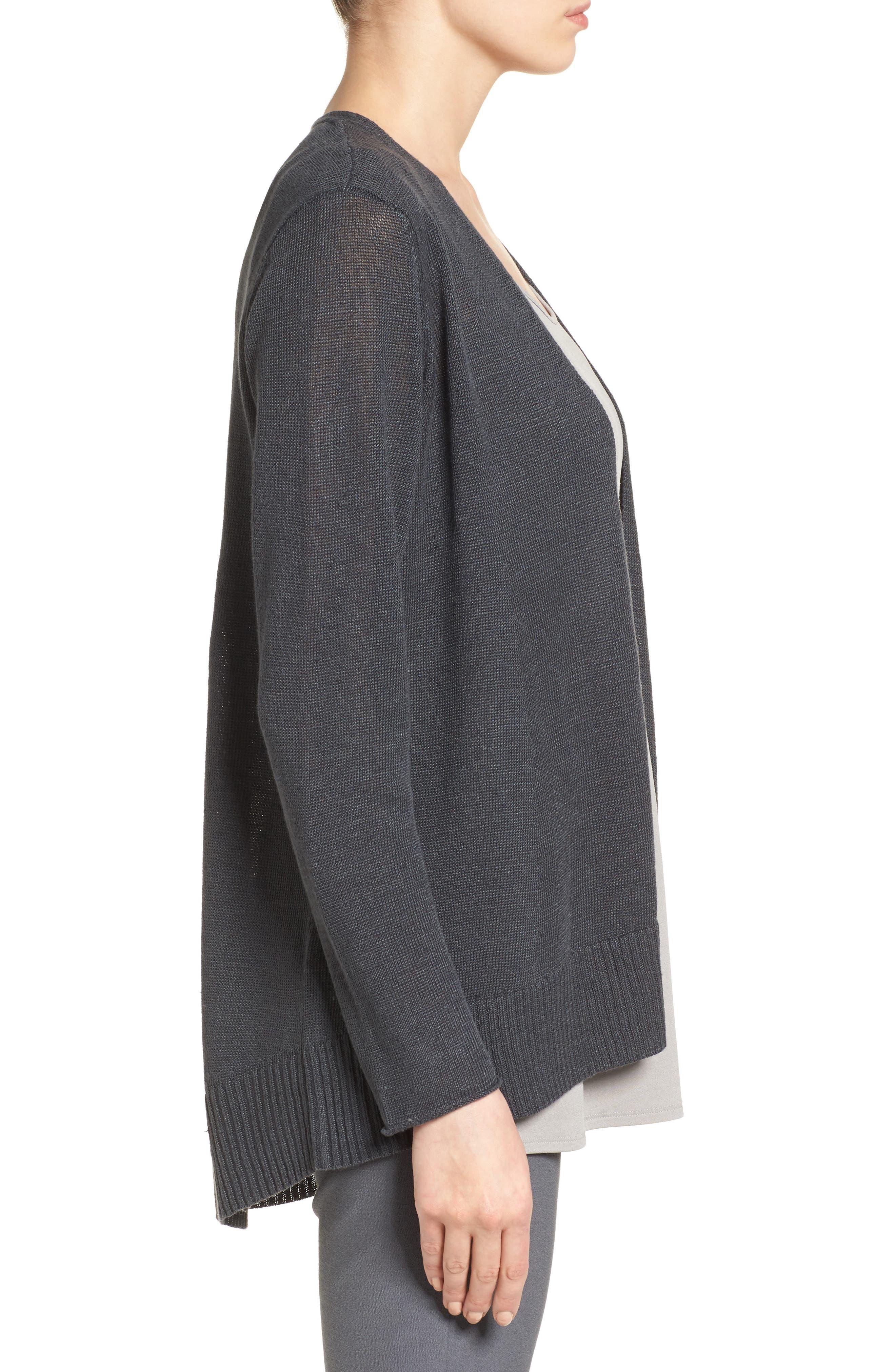 Alternate Image 3  - Eileen Fisher Organic Linen Open Front Cardigan
