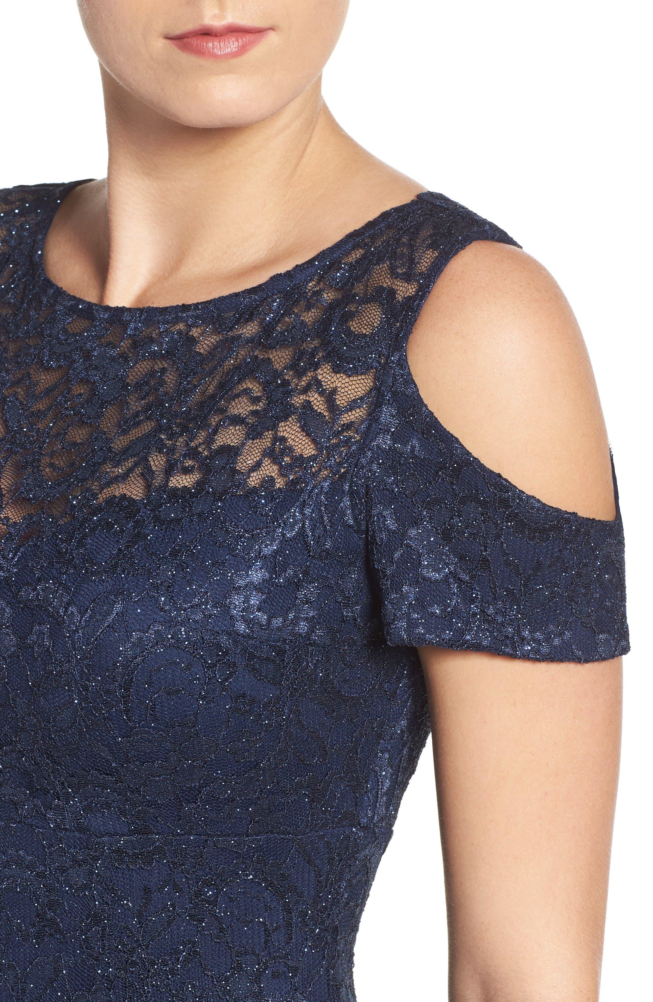 Cold Shoulder Lace Gown,                             Alternate thumbnail 4, color,                             Navy