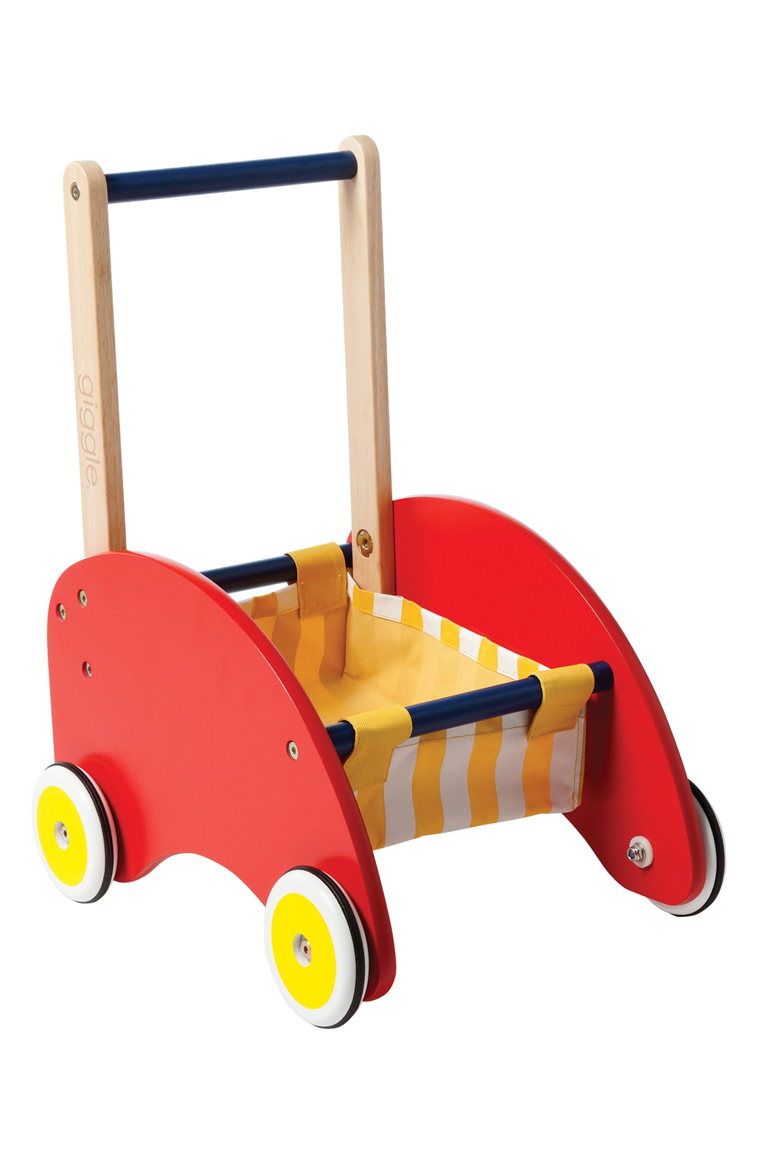 Giggle Wood Push Cart,                         Main,                         color, Red