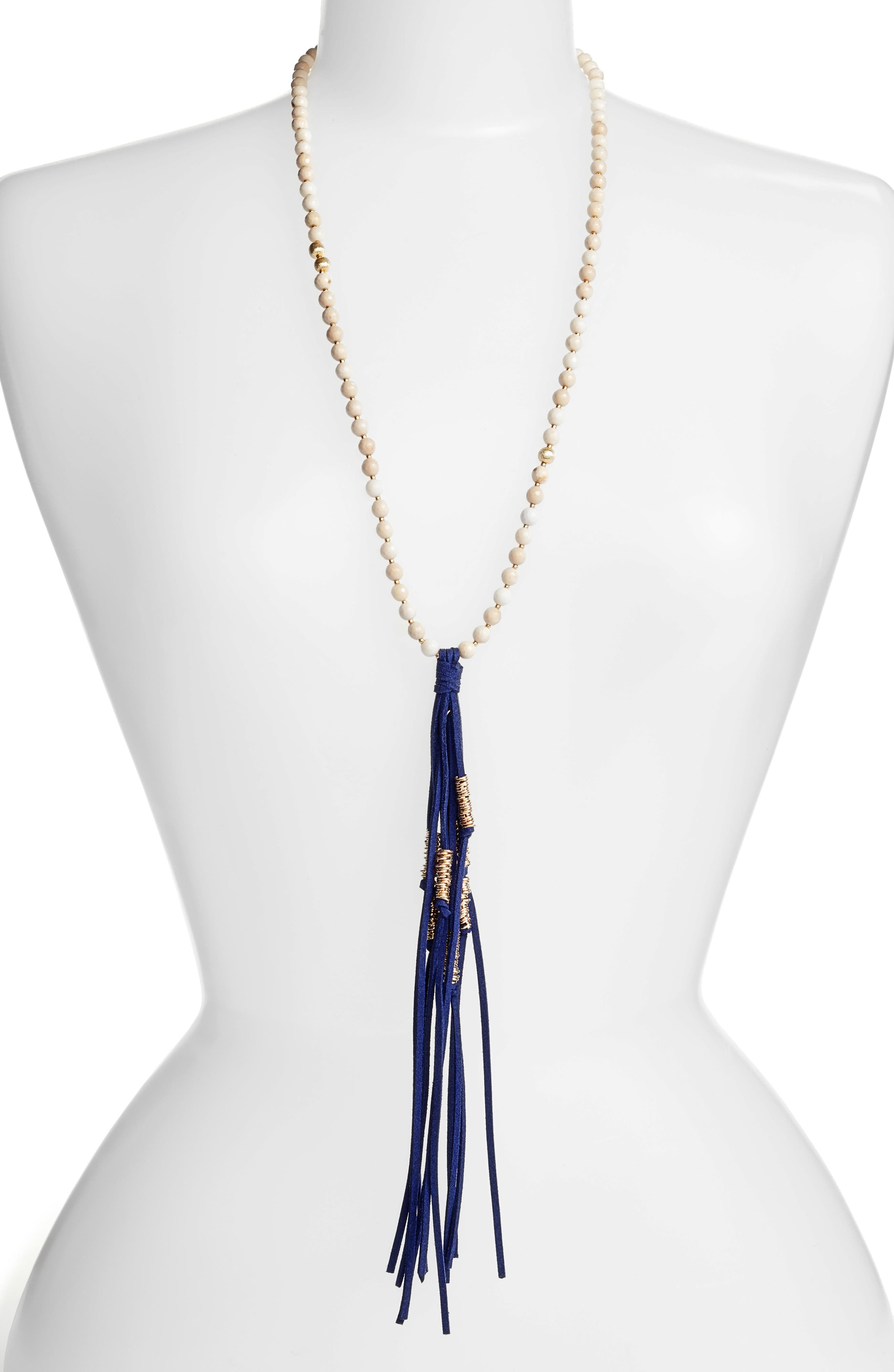 Love's Affect Semiprecious Stone Tassel Necklace,                         Main,                         color, Navy