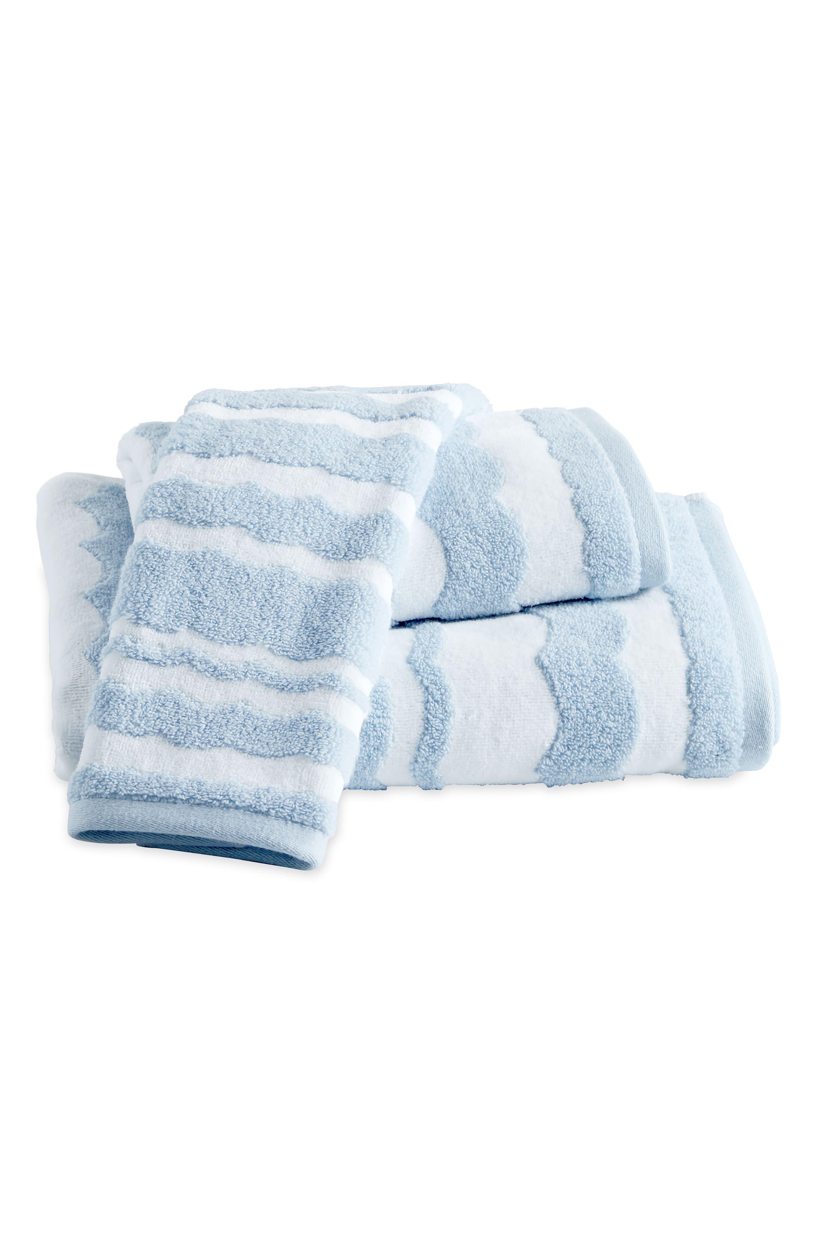 Wave Scallop Bath Towel, Hand Towel and Tip Towel Set,                             Main thumbnail 1, color,                             Blue