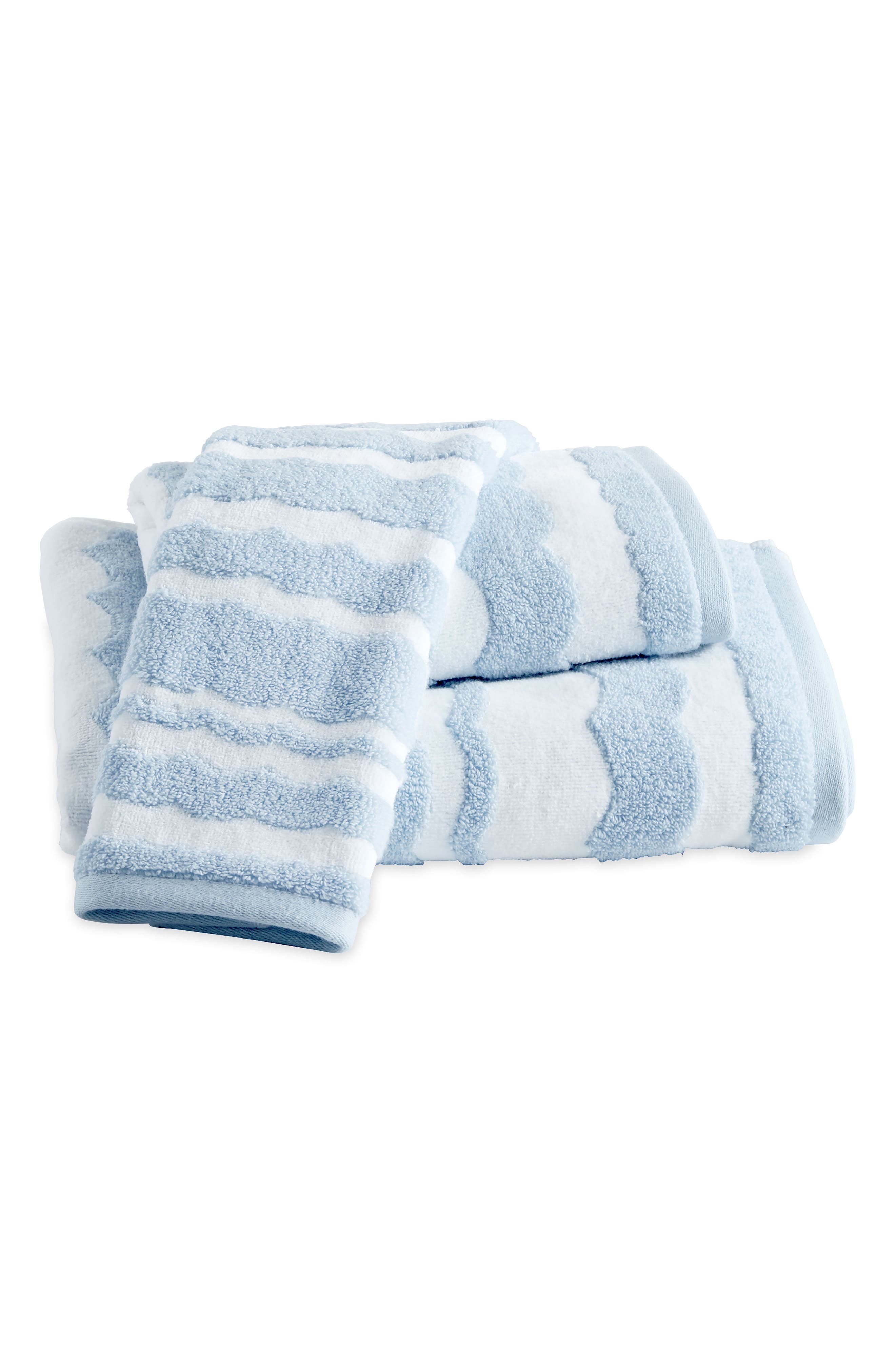 Wave Scallop Bath Towel, Hand Towel and Tip Towel Set,                         Main,                         color, Blue
