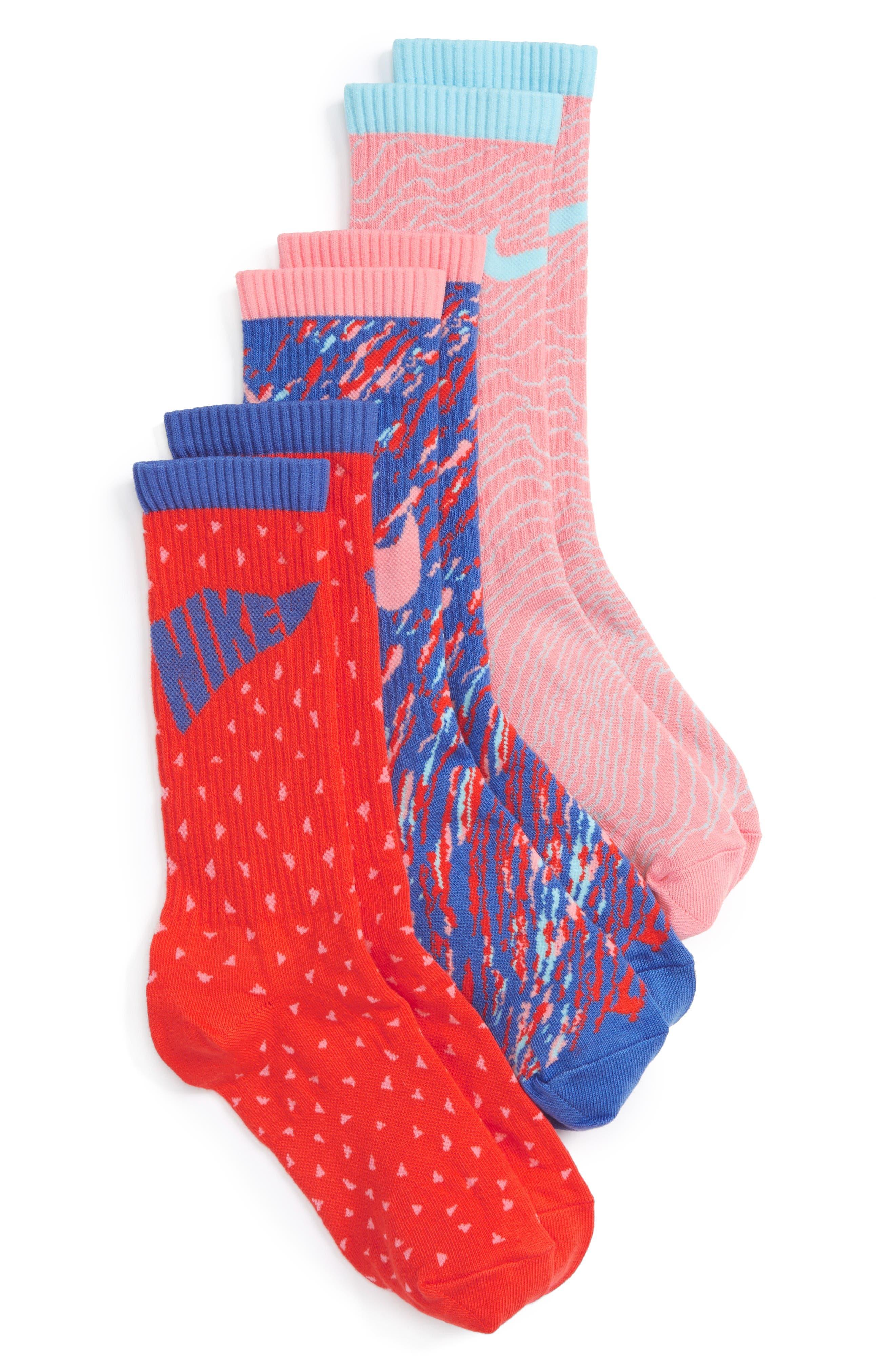 Main Image - Nike 3-Pack Graphic Crew Socks (Walker, Toddler, Little Kid & Big Kid)
