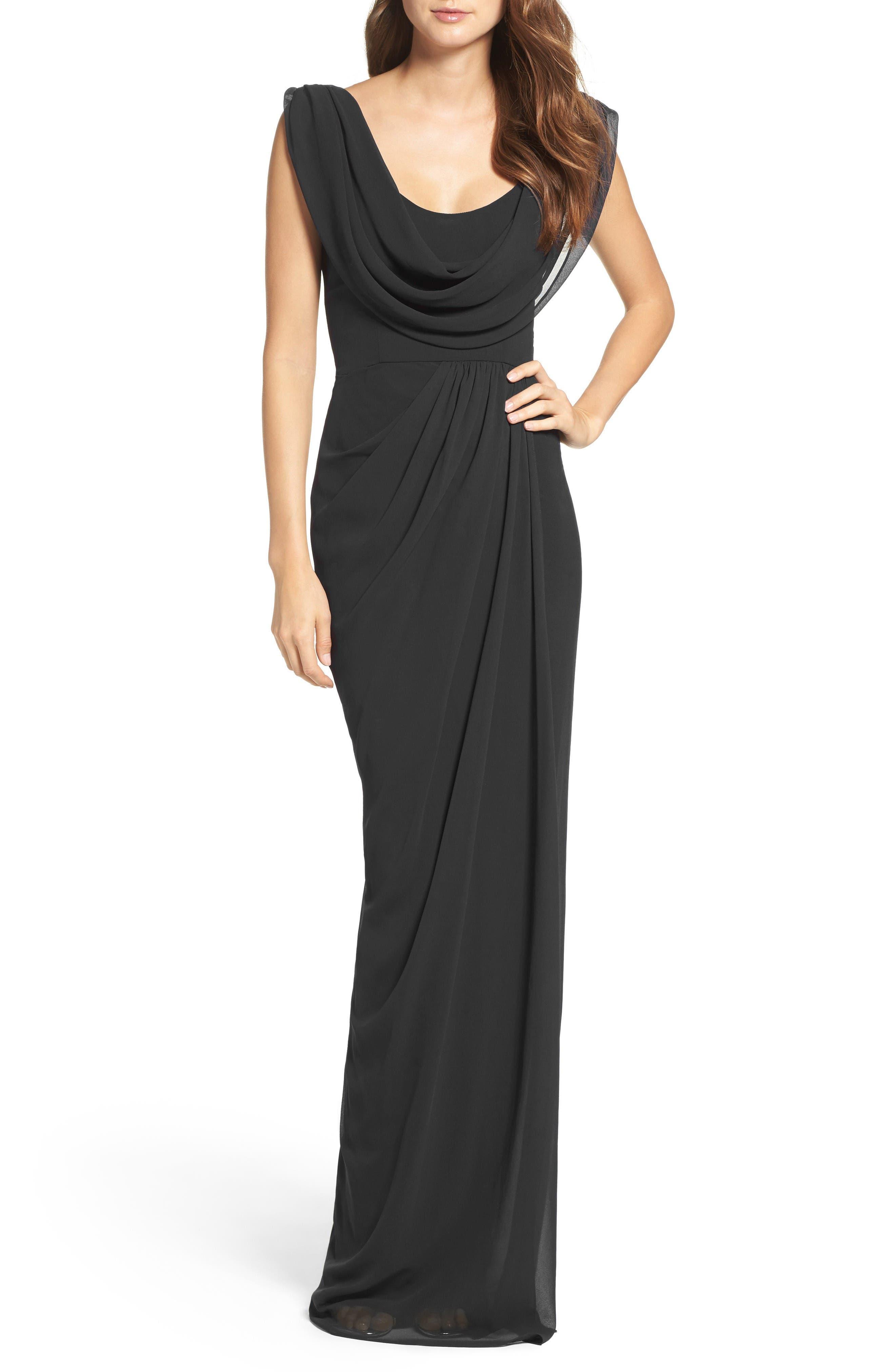 Farrah Chiffon Gown,                         Main,                         color, Black