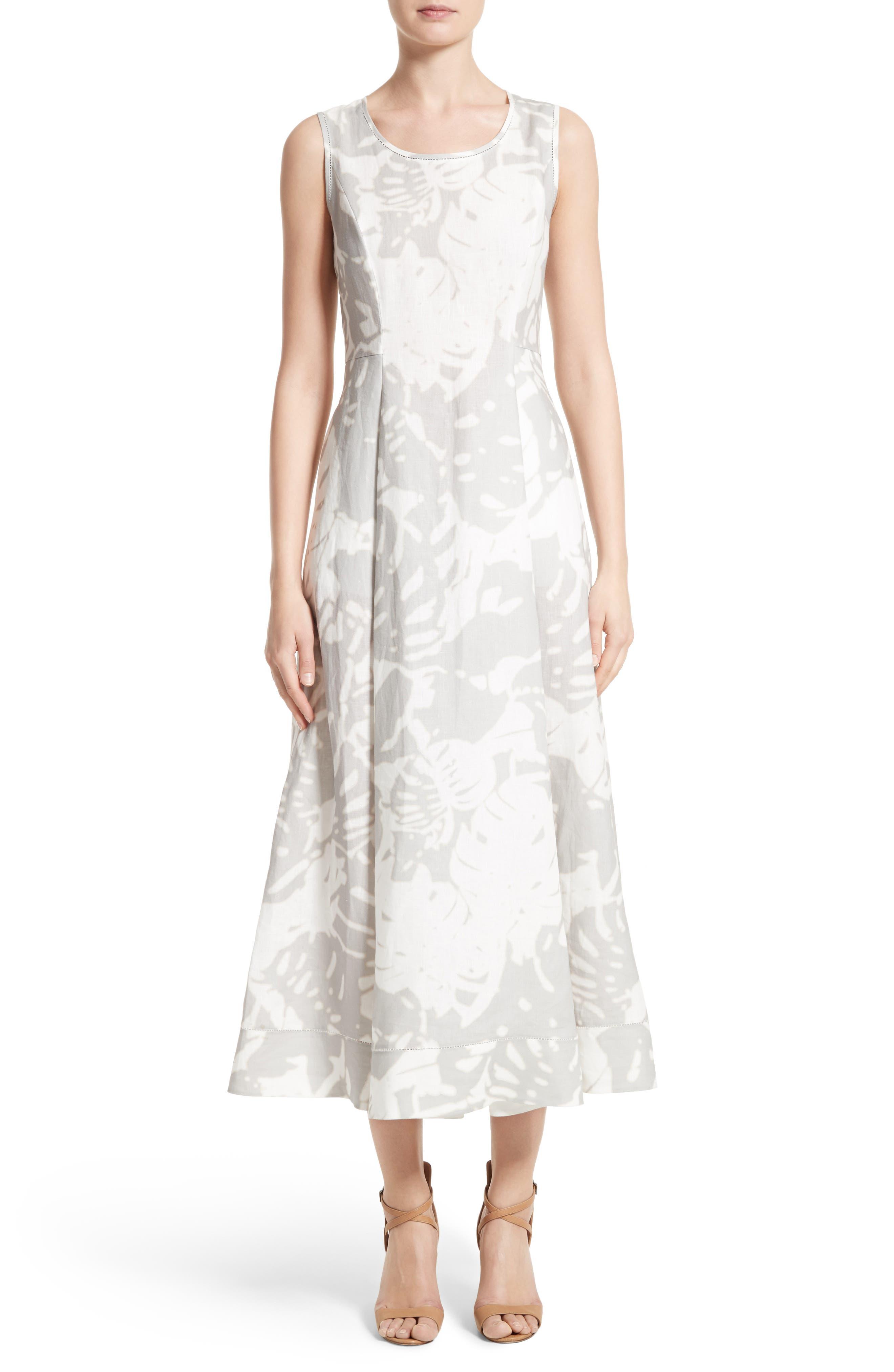 Lafayette 148 New York Carressa Print Linen Midi Dress