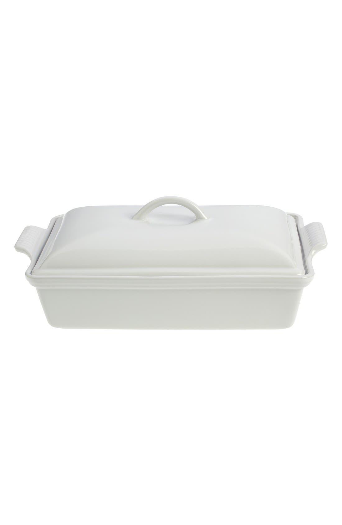 4 Quart Covered Rectangular Stoneware Casserole,                         Main,                         color, White