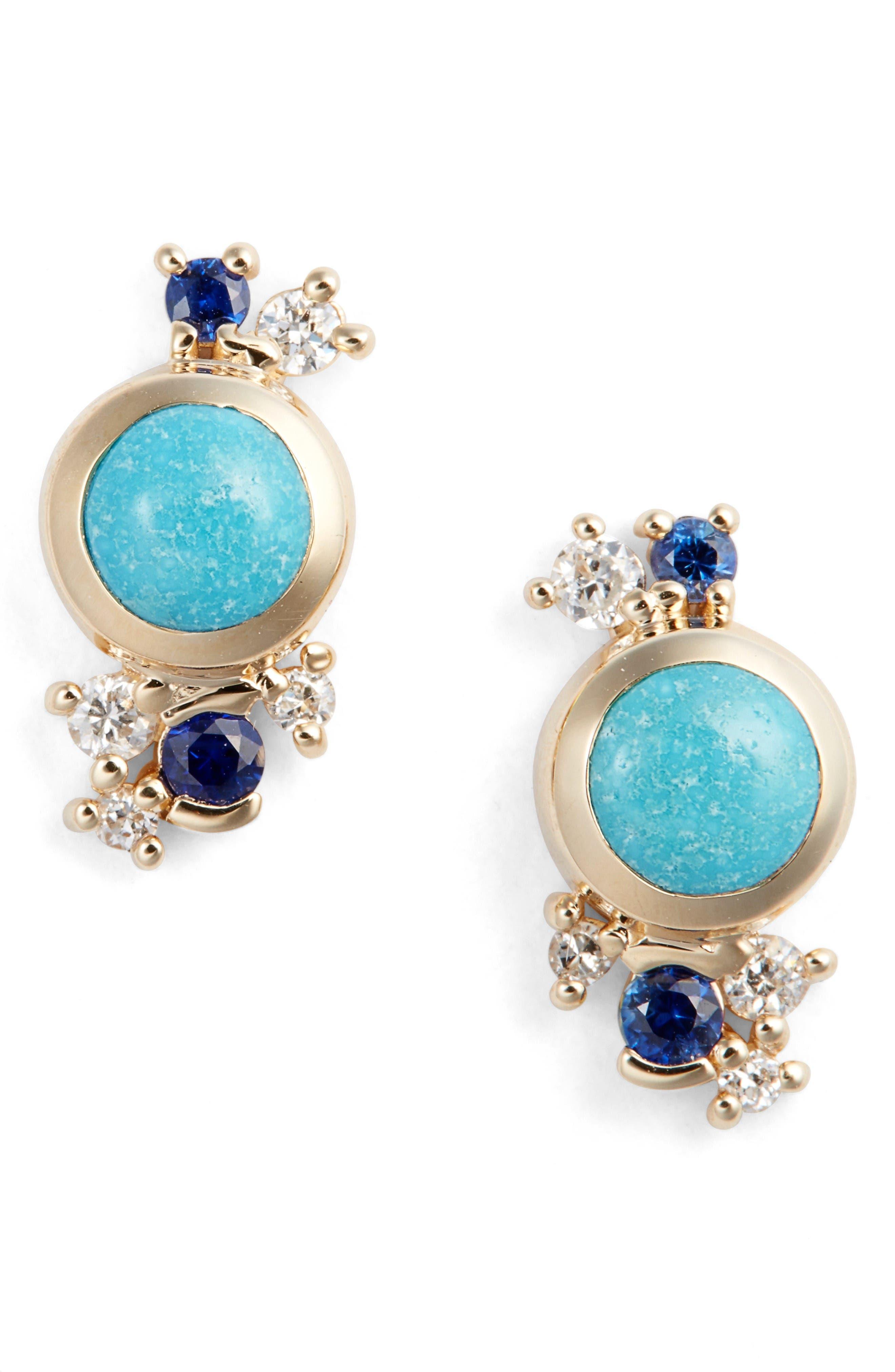 MOCIUN Turquoise, Sapphire & Diamond Earrings