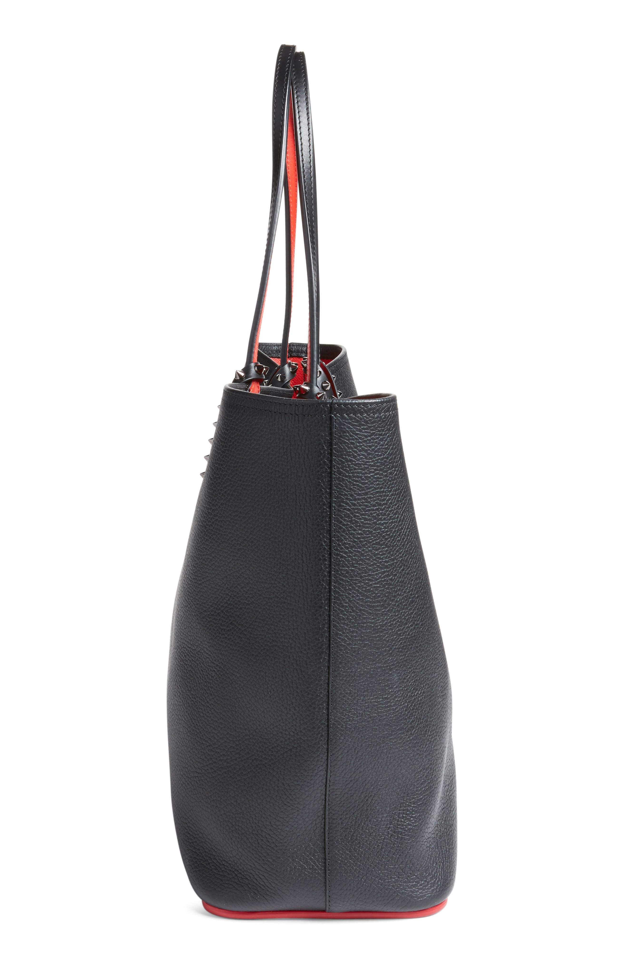 Cabata Calfskin Leather Tote,                             Alternate thumbnail 5, color,                             Black/Black