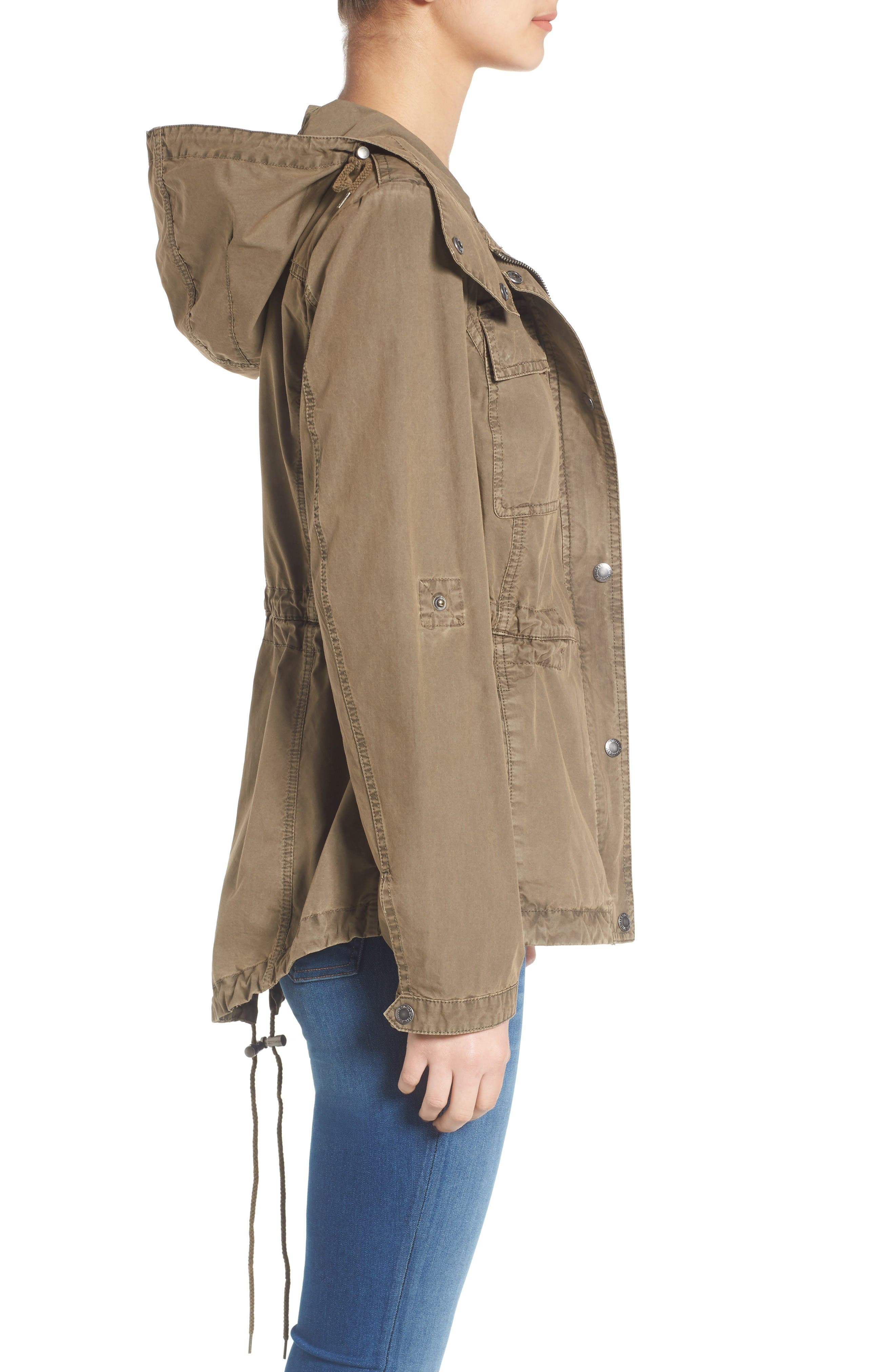 Parachute Cotton Hooded Utility Jacket,                             Alternate thumbnail 4, color,                             Khaki