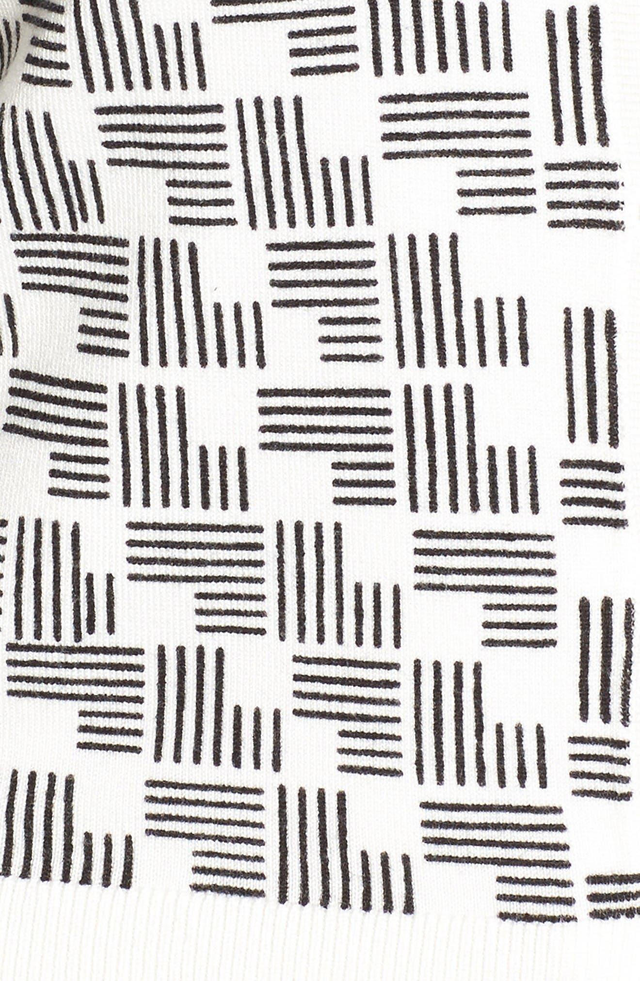 Three Quarter Sleeve Crewneck Cardigan,                             Alternate thumbnail 5, color,                             Ivory- Black Eyelet Geo