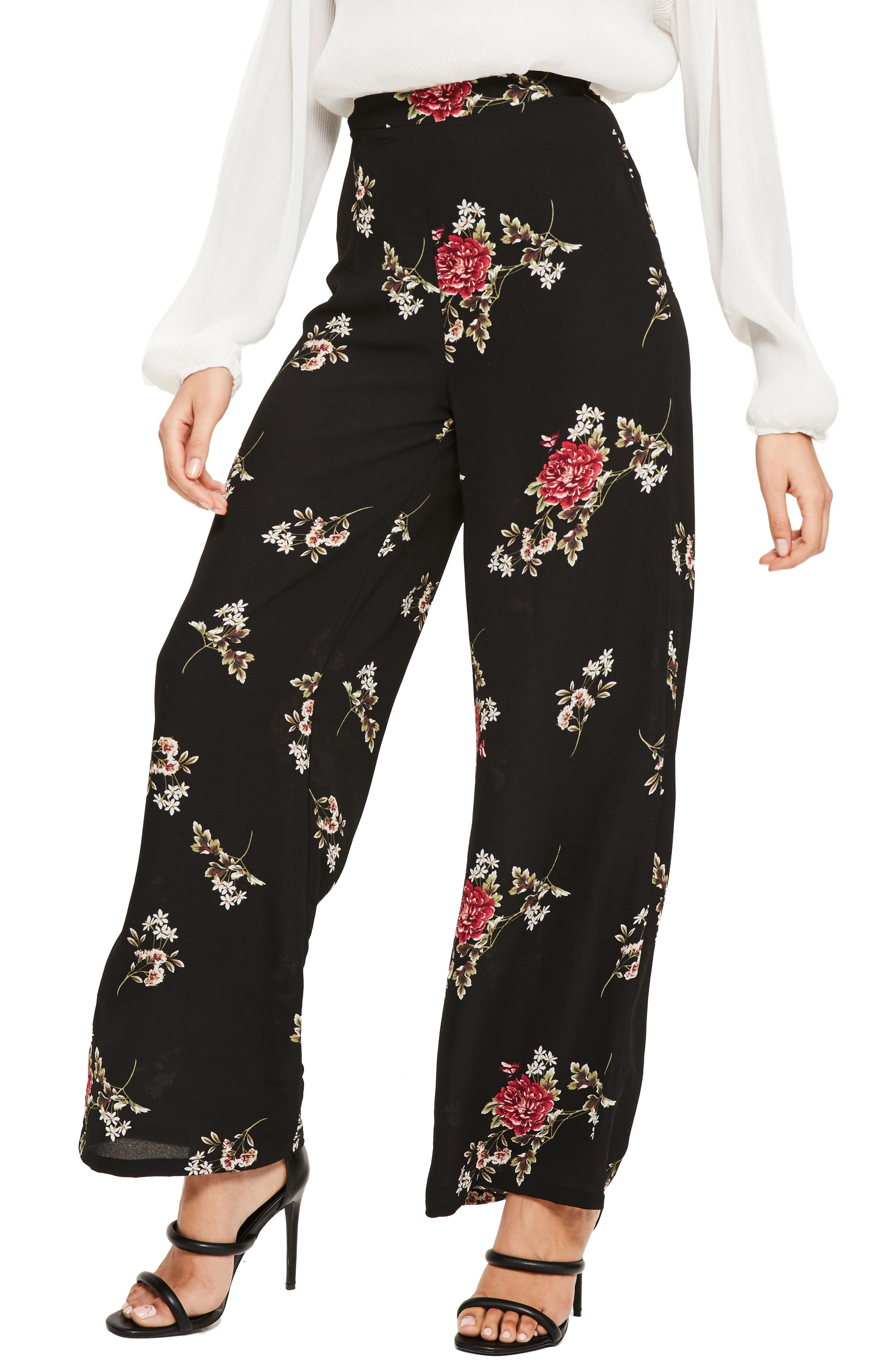 Alternate Image 1 Selected - Missguided Wide Leg Floral Print Pants