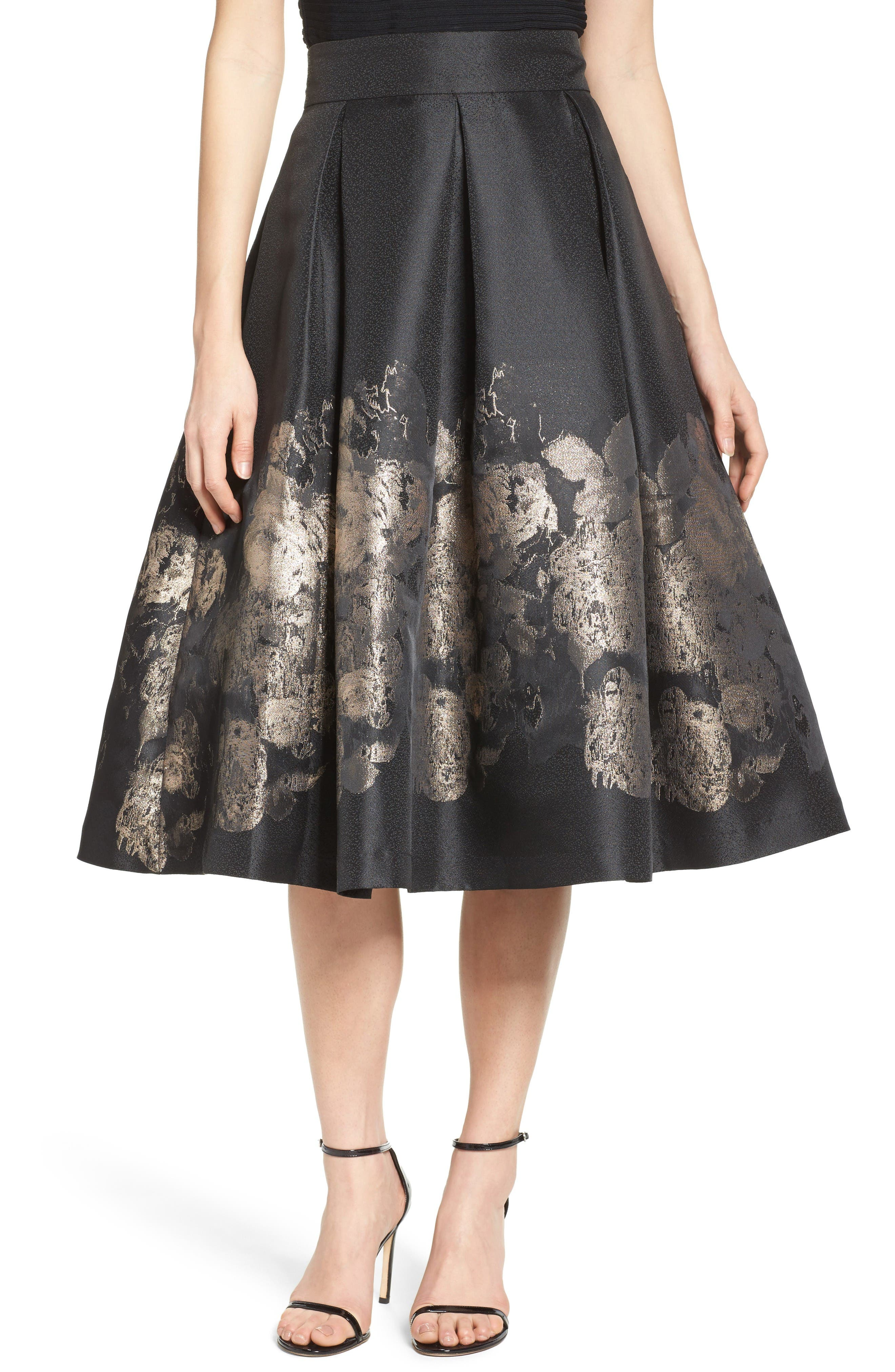 Alternate Image 1 Selected - Eliza J Pleated Mikado Midi Skirt