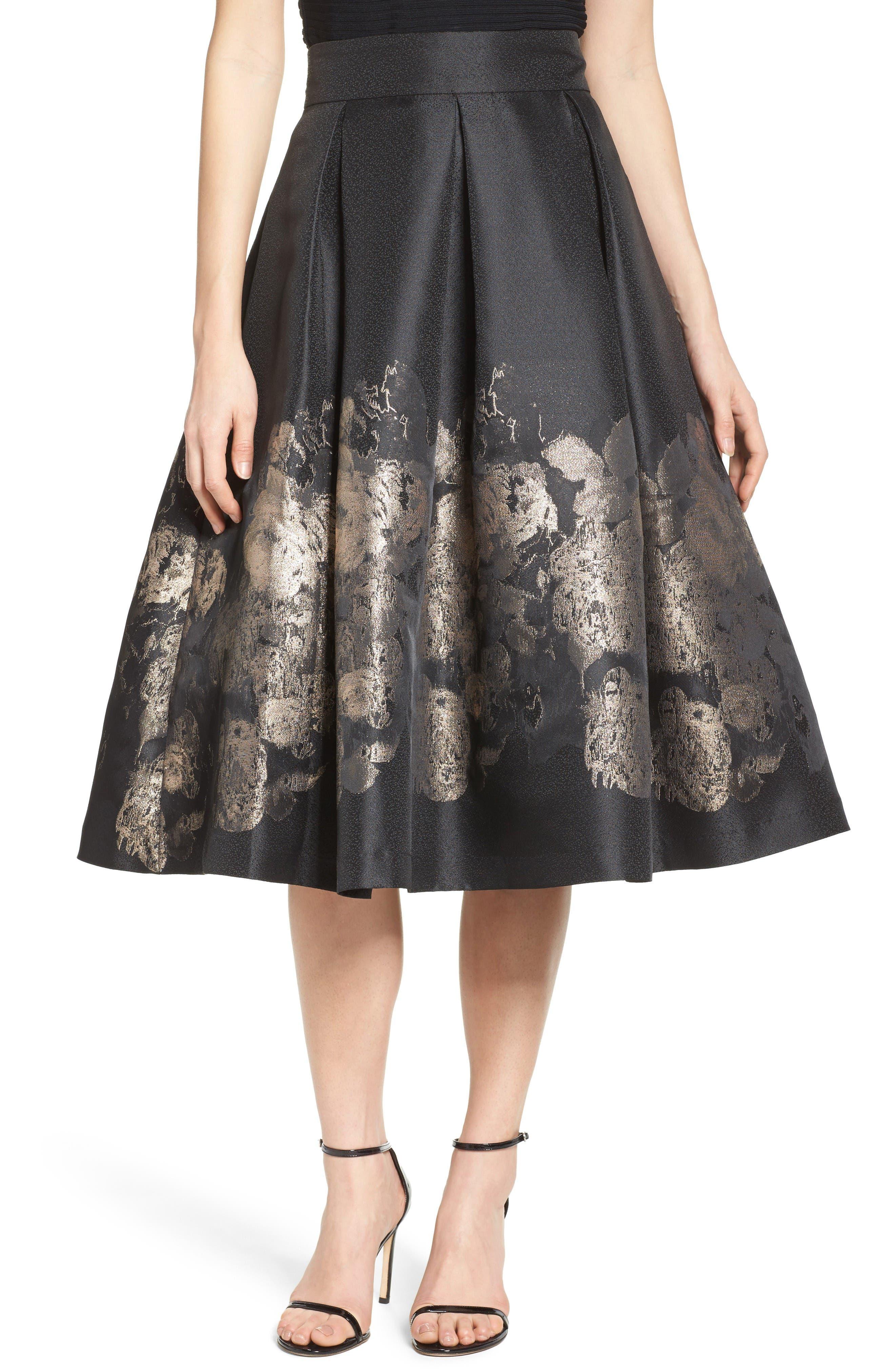 Main Image - Eliza J Pleated Mikado Midi Skirt