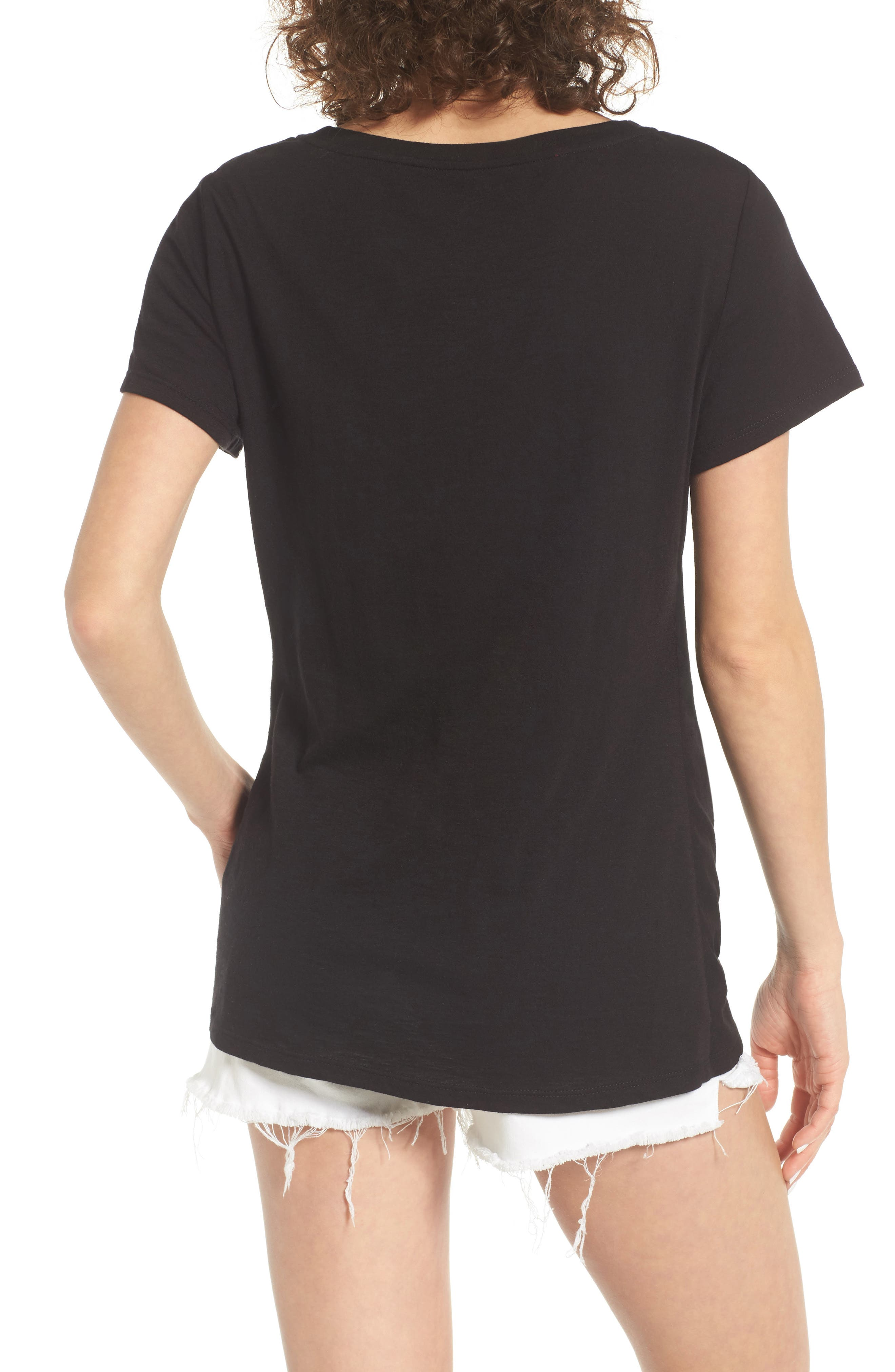 Twist Front Tee,                             Alternate thumbnail 2, color,                             Black