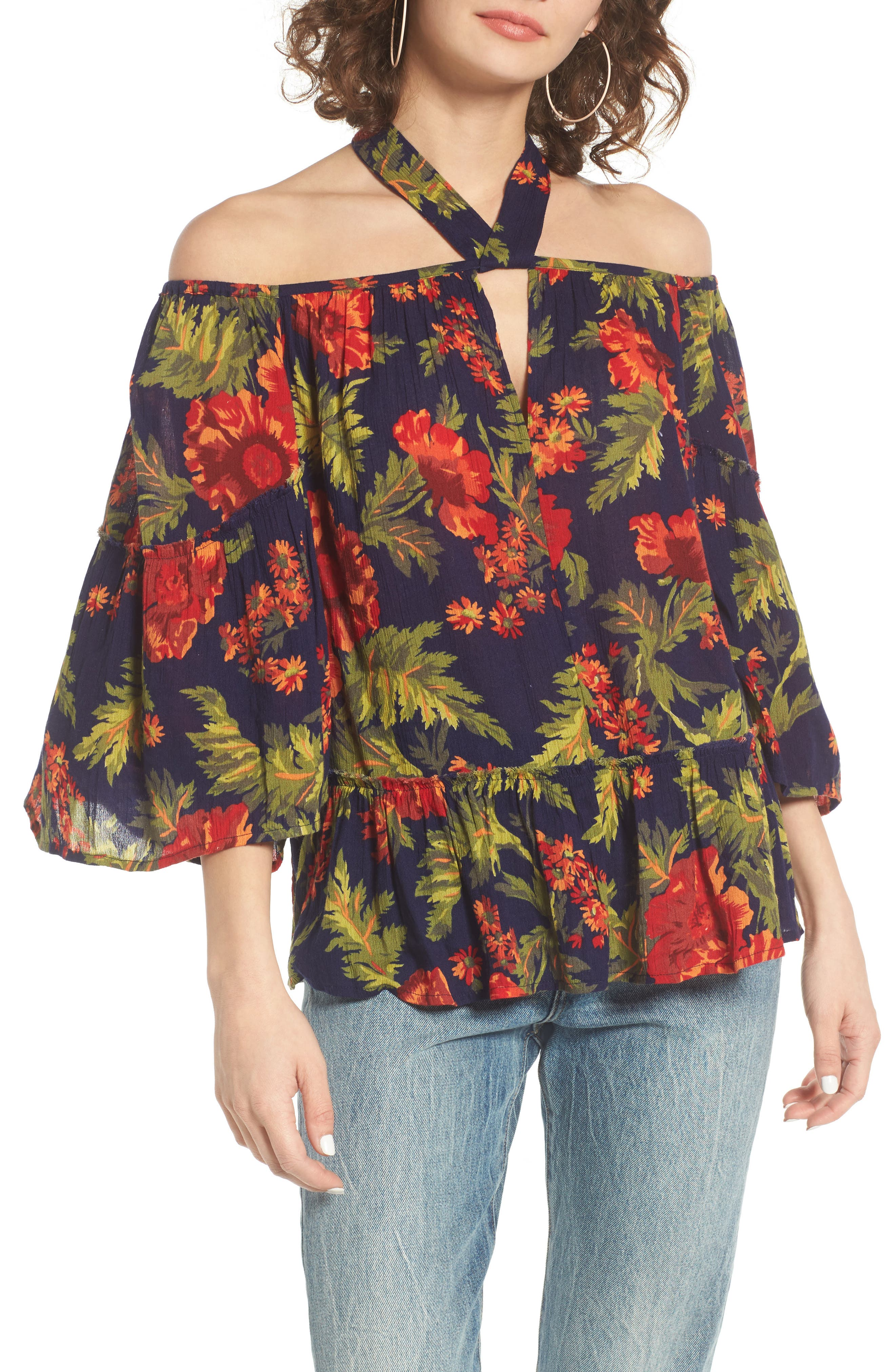Main Image - Sun & Shadow Tie Neck Off the Shoulder Top