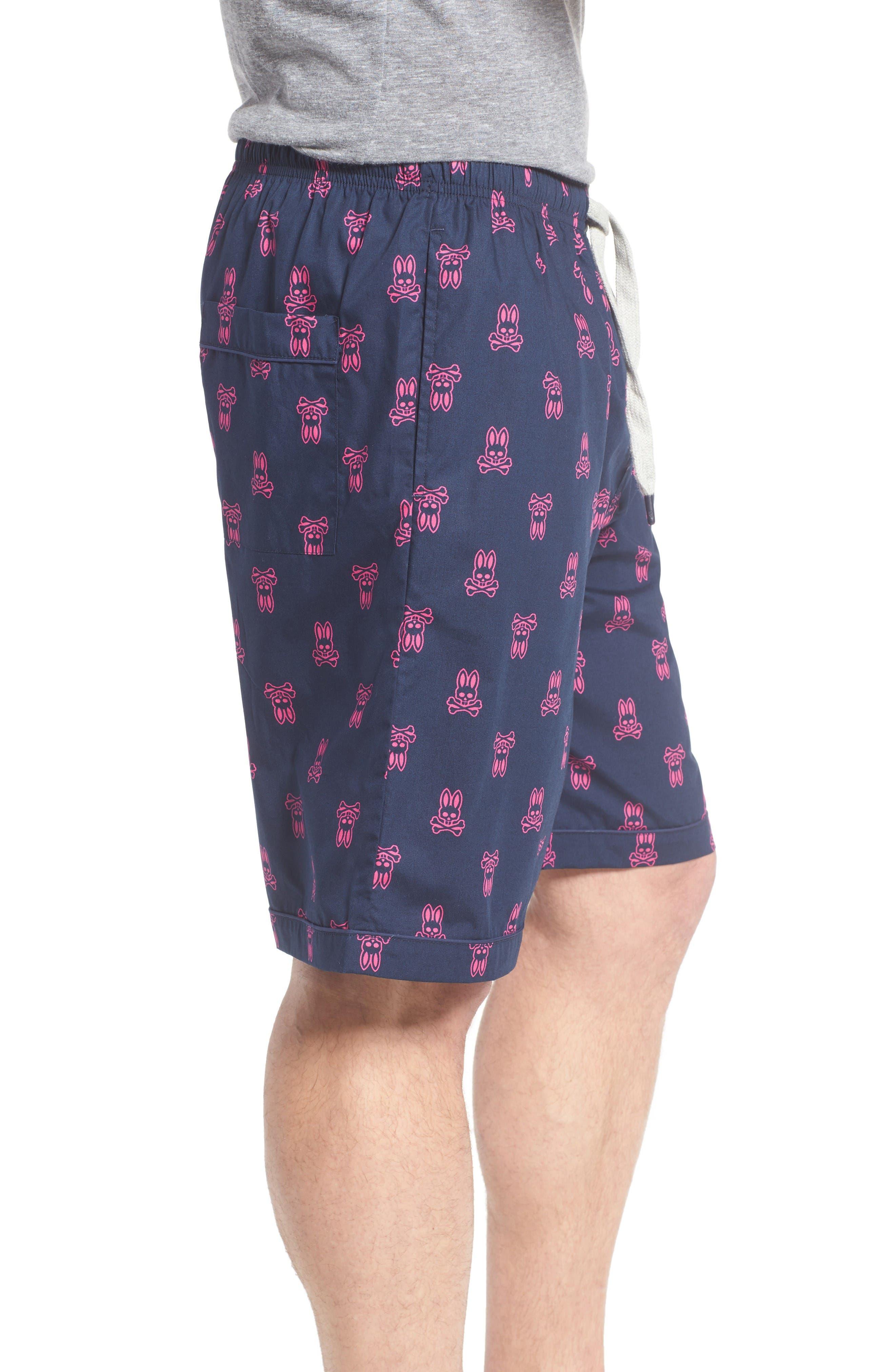 Cotton Lounge Shorts,                             Alternate thumbnail 3, color,                             Peacoat Bunny