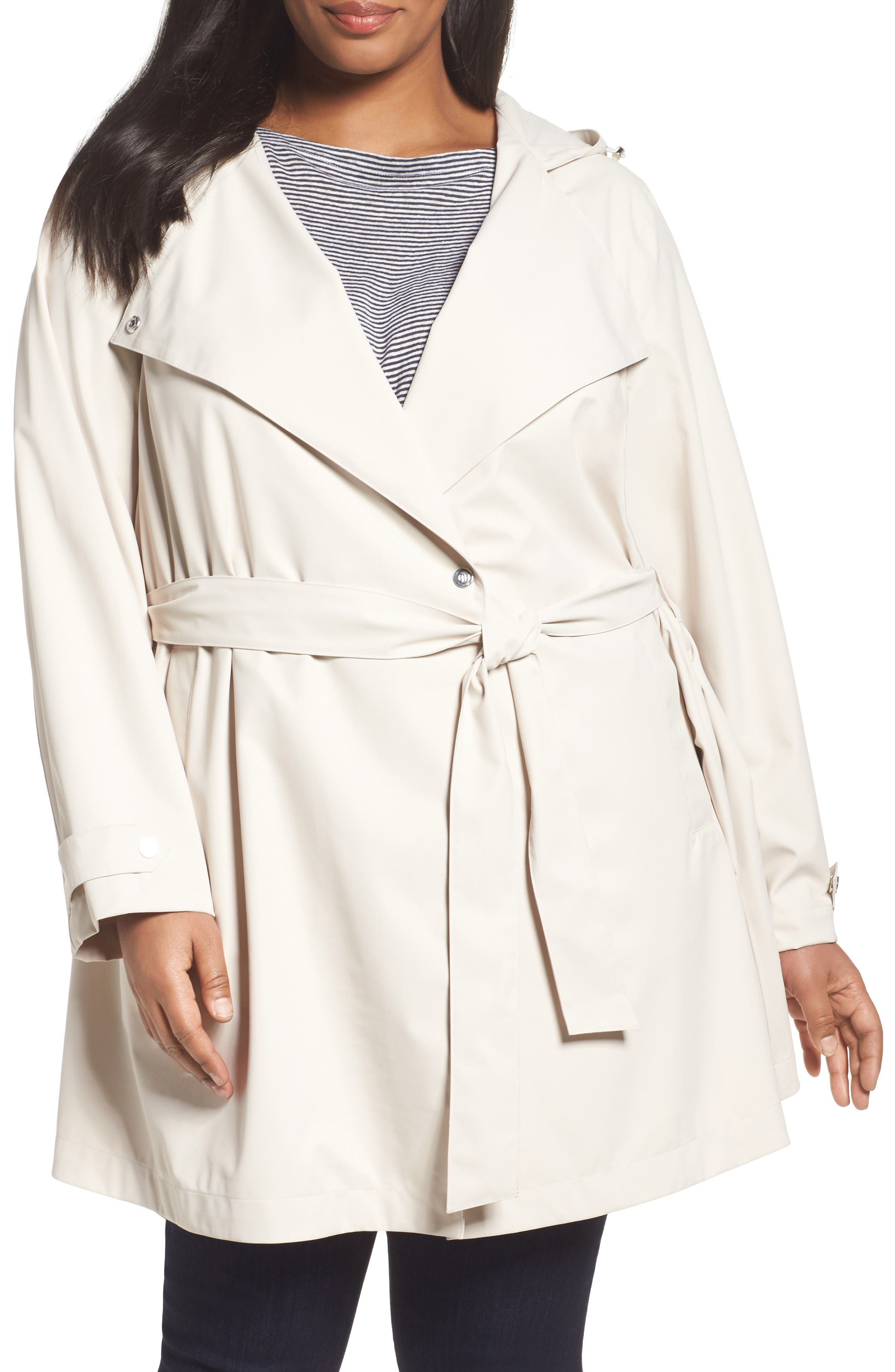 Breathable Microfiber Trench Coat,                             Main thumbnail 1, color,                             Beige