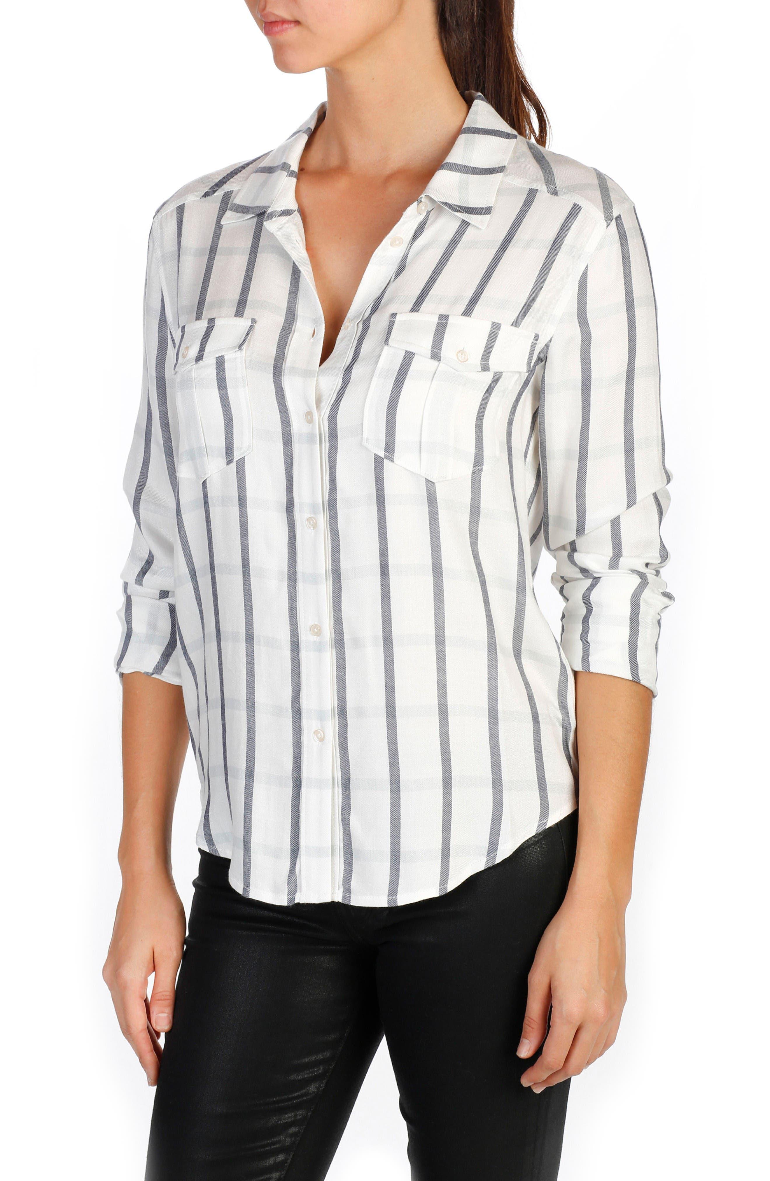 Mya Plaid Cotton Shirt,                         Main,                         color, Cream/ Phantom
