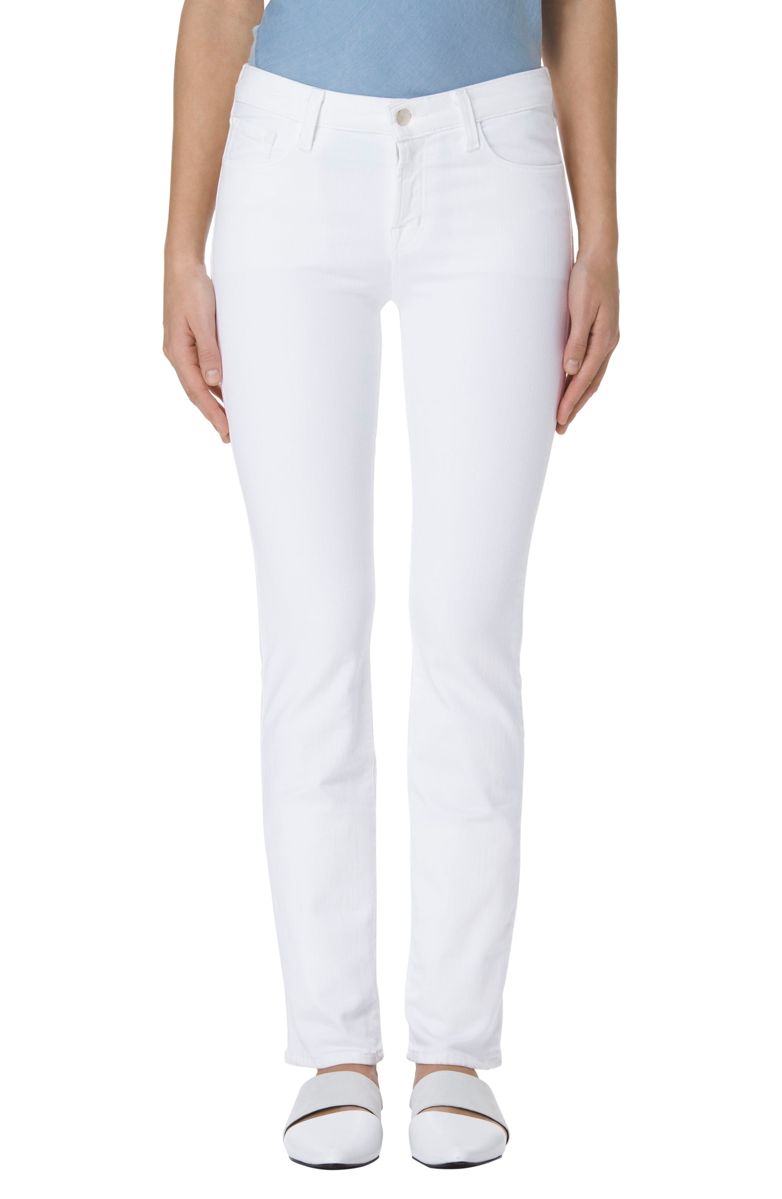 Main Image - J Brand Amelia Straight Leg Jeans (Blanc)