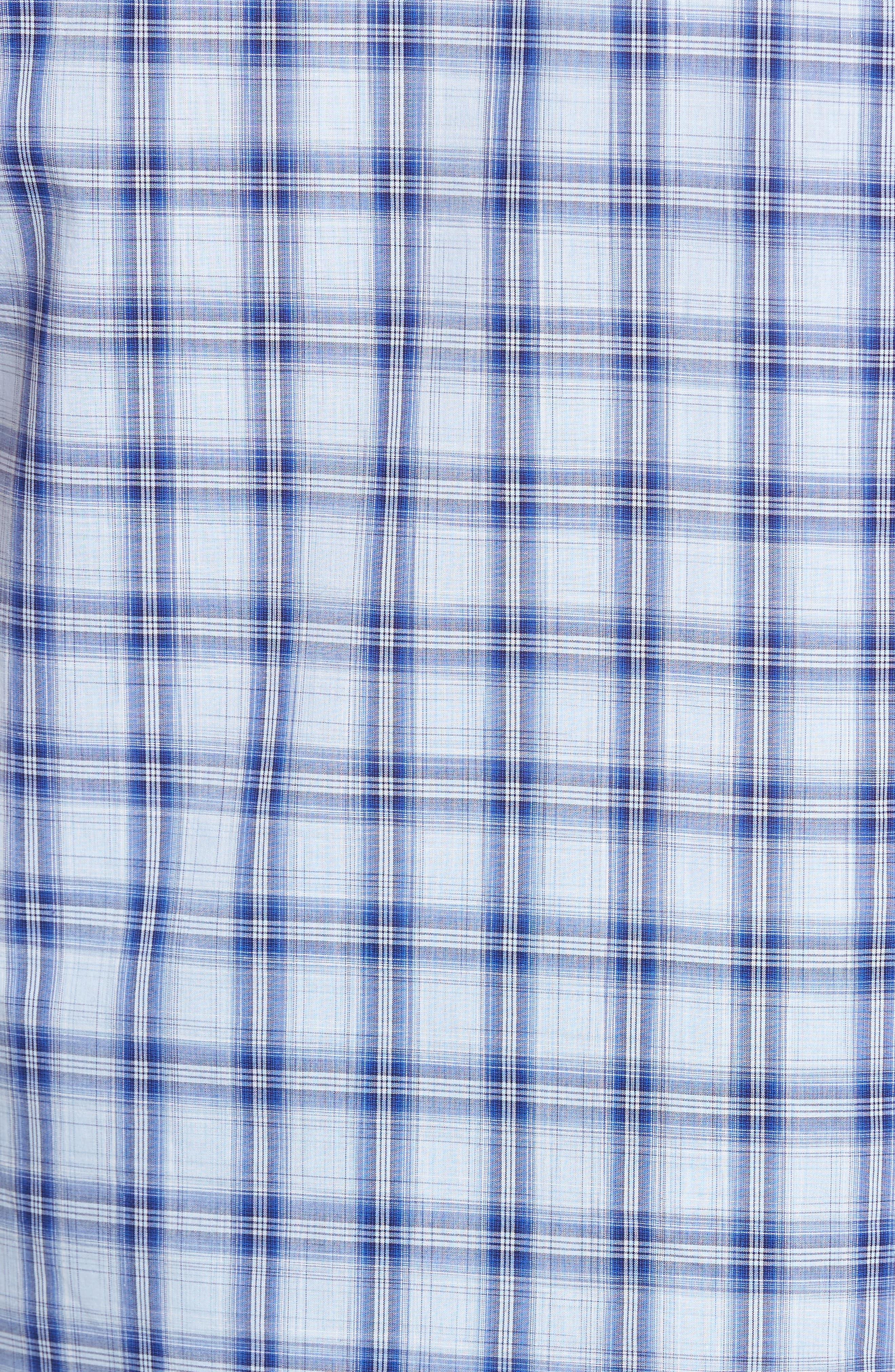 Hwang Trim Fit Plaid Sport Shirt,                             Alternate thumbnail 5, color,                             Pale Blue