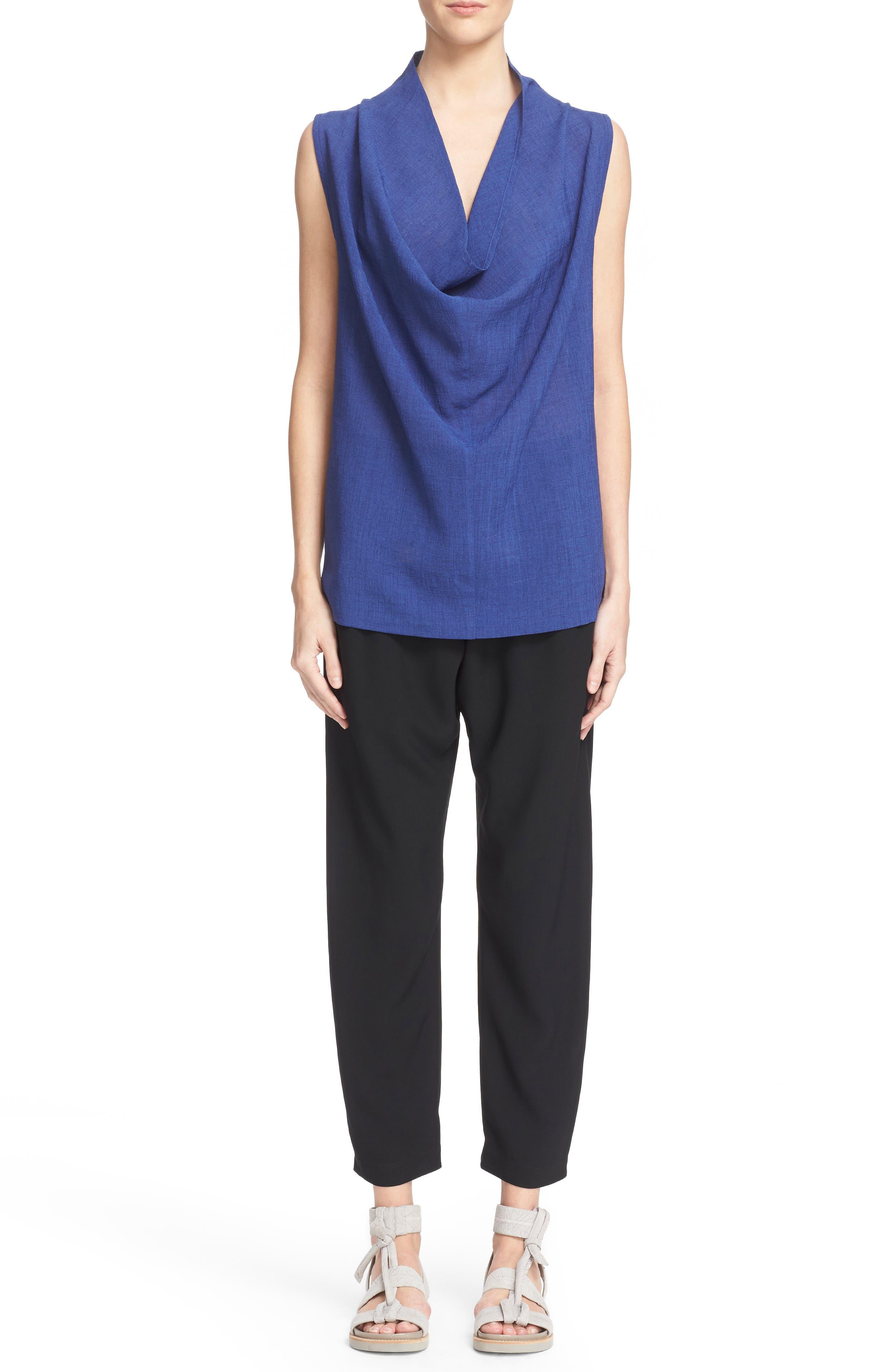 Gabi Drape Trousers,                             Alternate thumbnail 6, color,                             Black