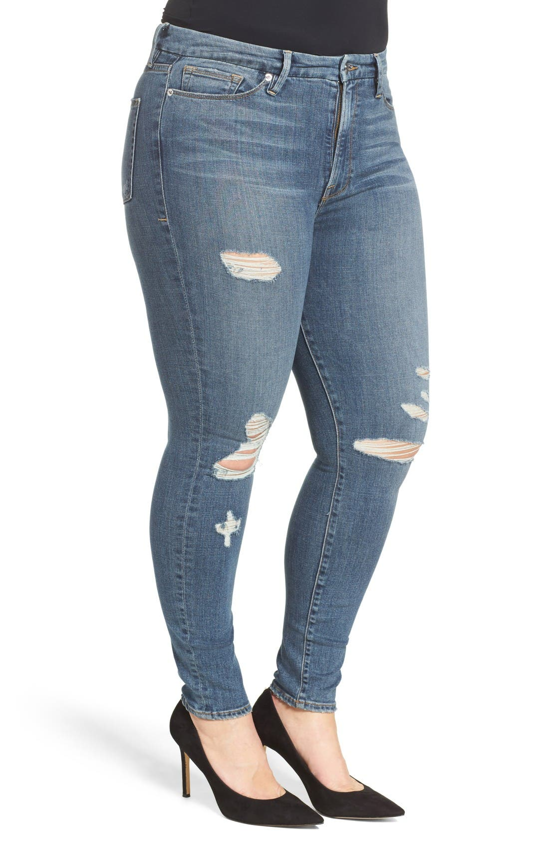 Alternate Image 10  - Good American Good Waist High Waist Ripped Skinny Jeans (Blue 026) (Extended Sizes)