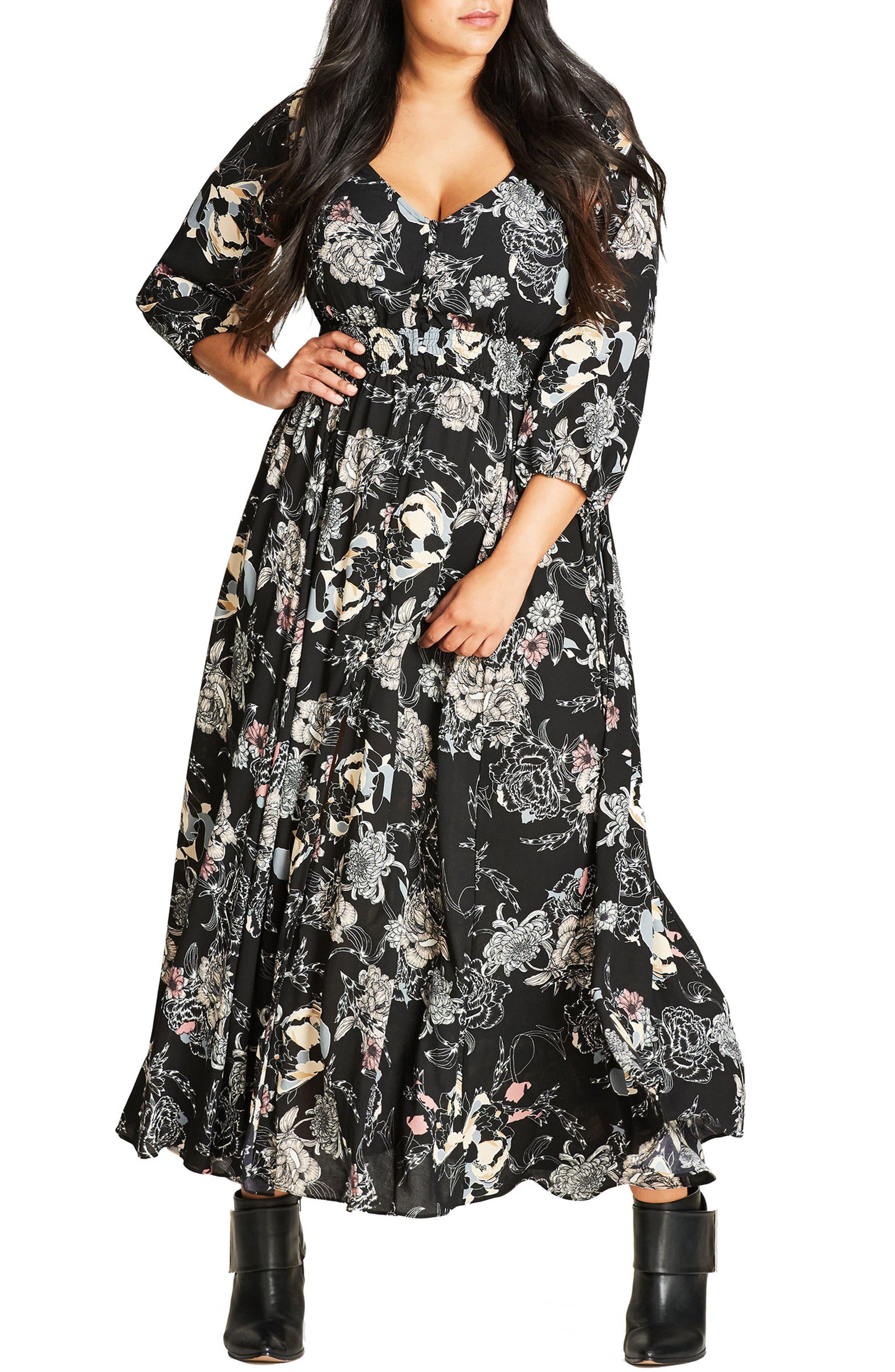 Floral Maxi Dress,                         Main,                         color, Black