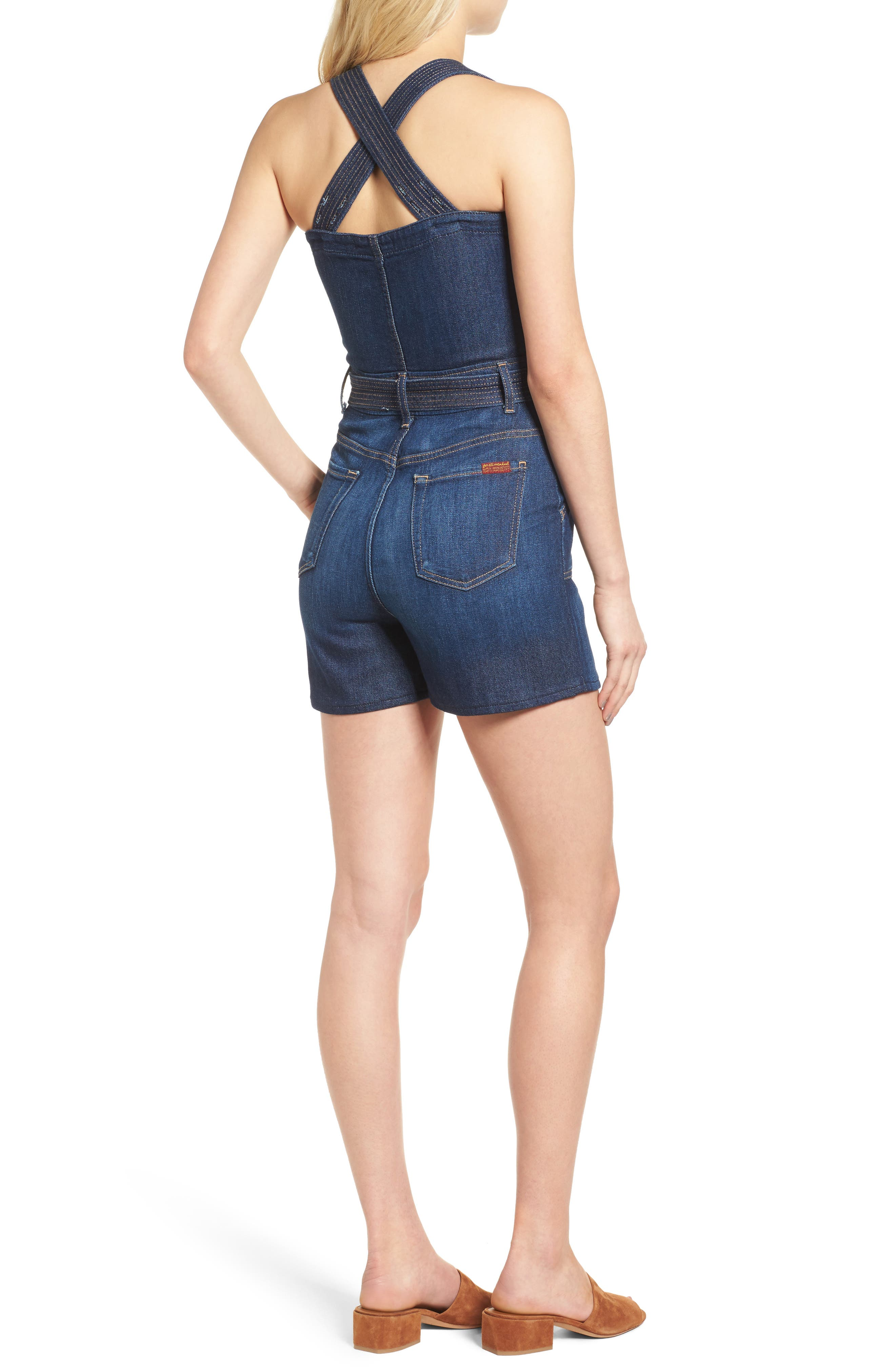 Denim Romper,                             Alternate thumbnail 2, color,                             Luxe Lounge Deep Blue (Lxld)